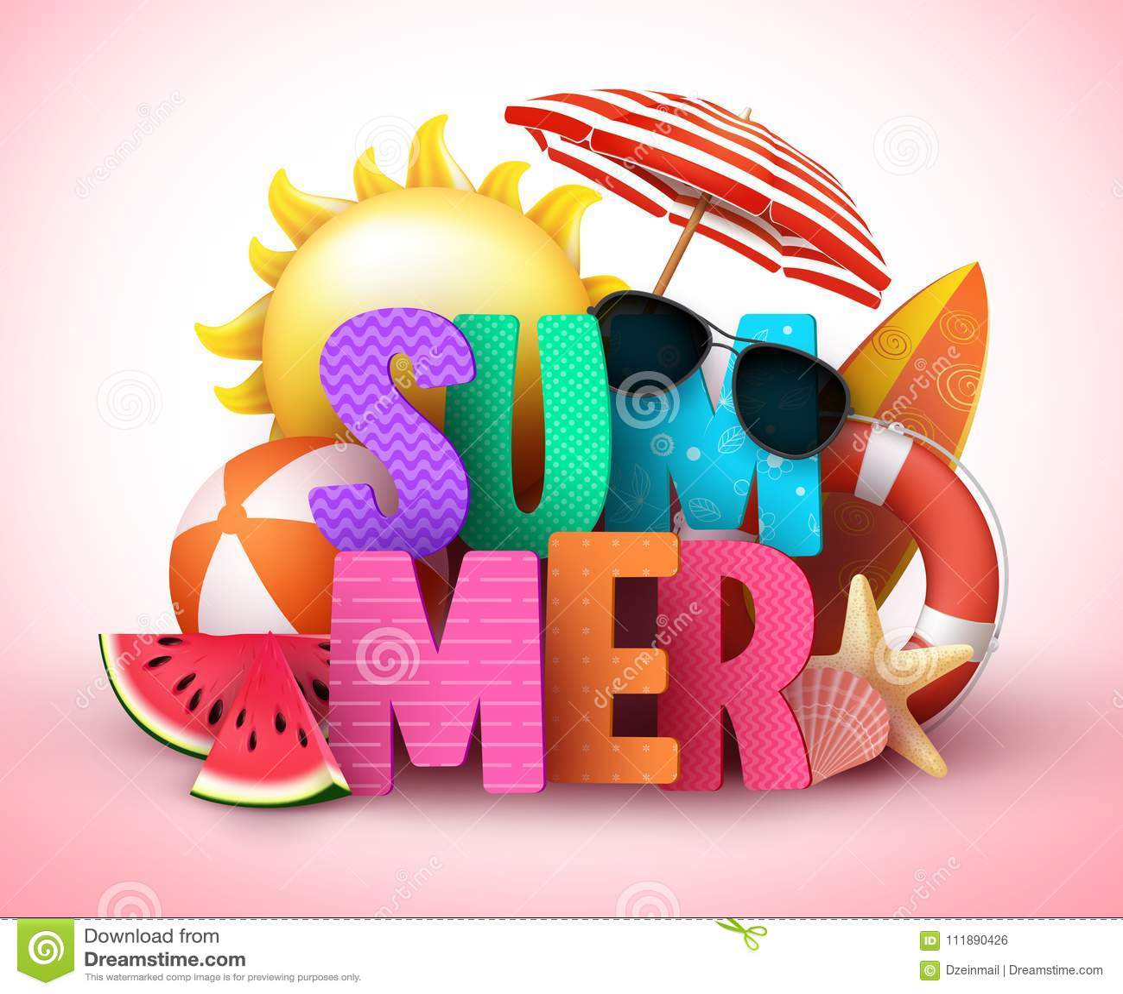 Conception de bannière de vecteur des textes de l été 3d avec le titre coloré et les éléments tropicaux réalistes de plage