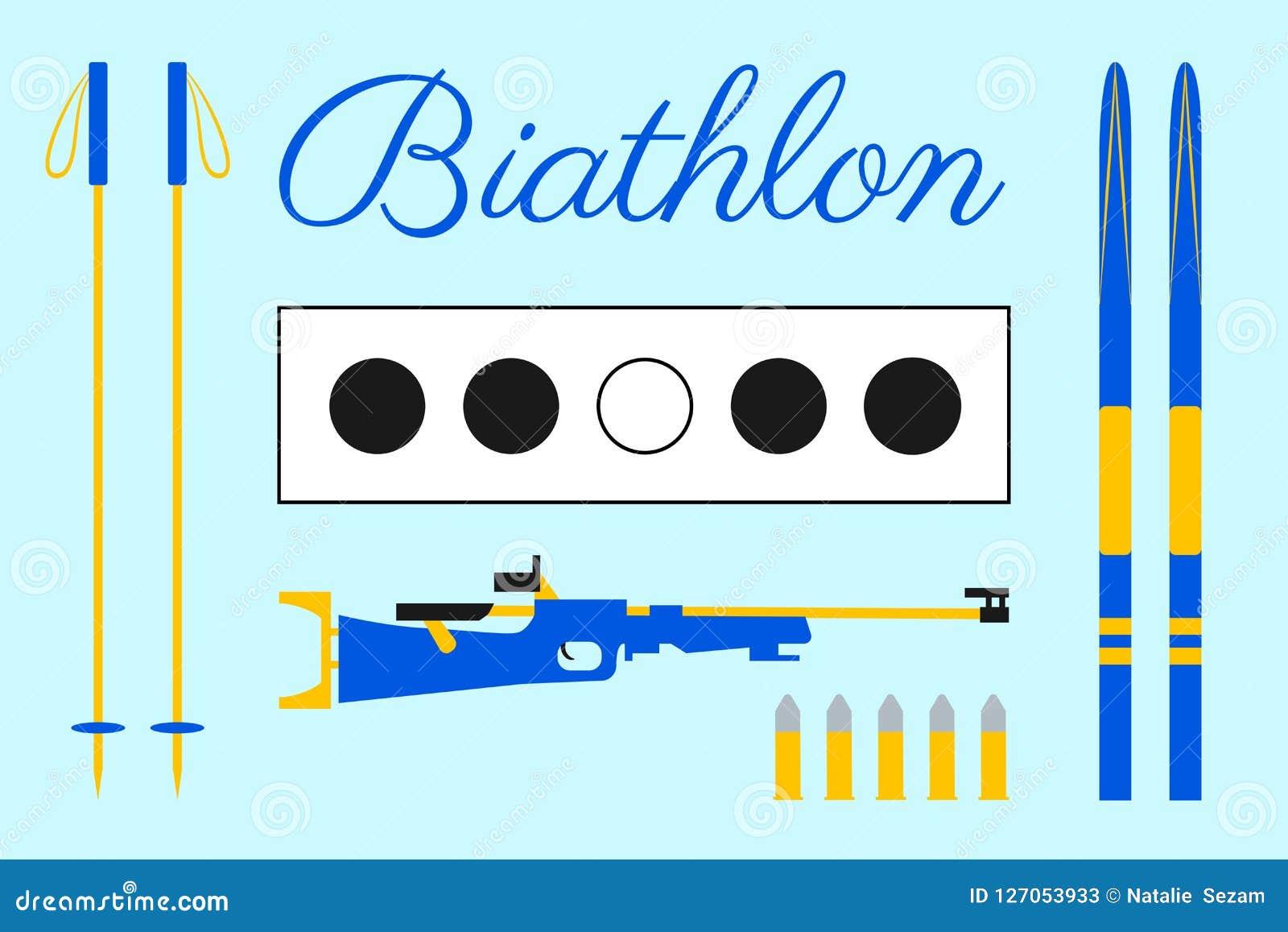 Conception de biathlon Cible, ski, cartouches, fusil, bâtons, marquant avec des lettres le texte Ensemble d équipement de biathlo