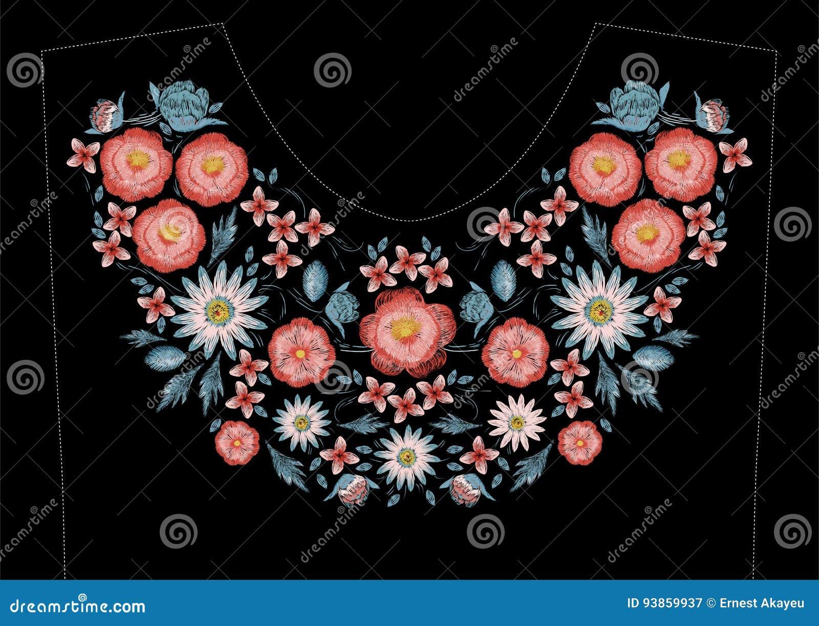 Conception de broderie de point de satin avec des fleurs Ligne folklorique modèle à la mode floral pour l encolure de robe Mode c