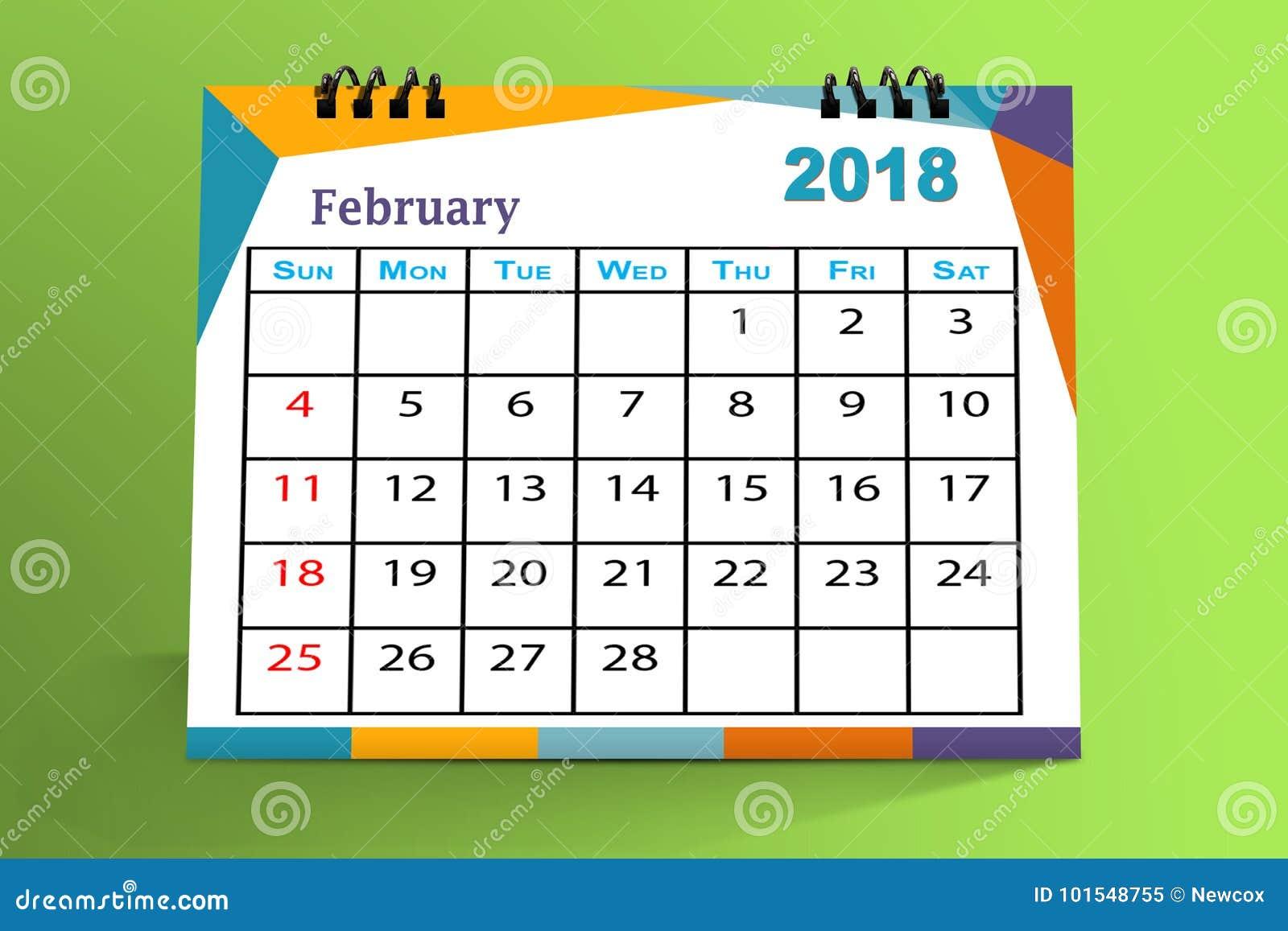 Conception de bureau de calendrier f vrier 2018 for Bureau de conception
