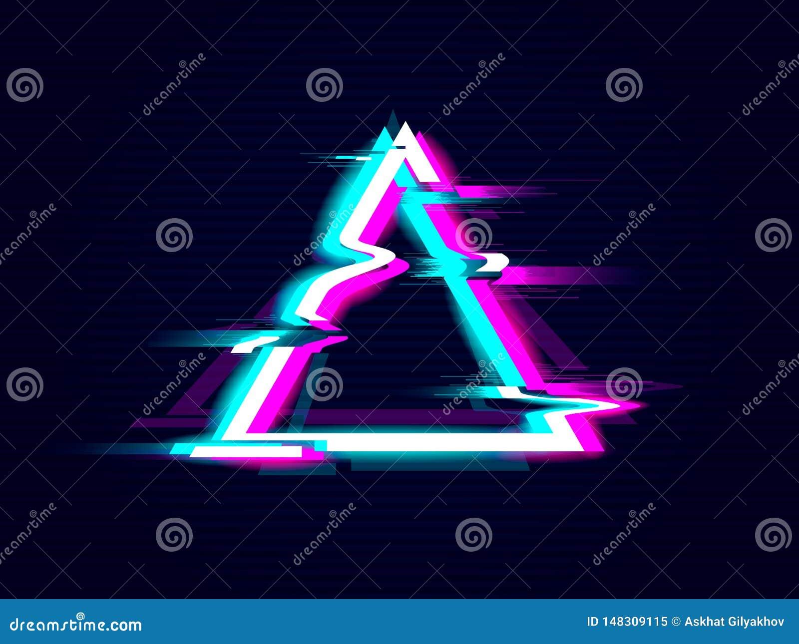 Conception de cadre de triangle de Glitched Fond moderne tordu de style de probl?me