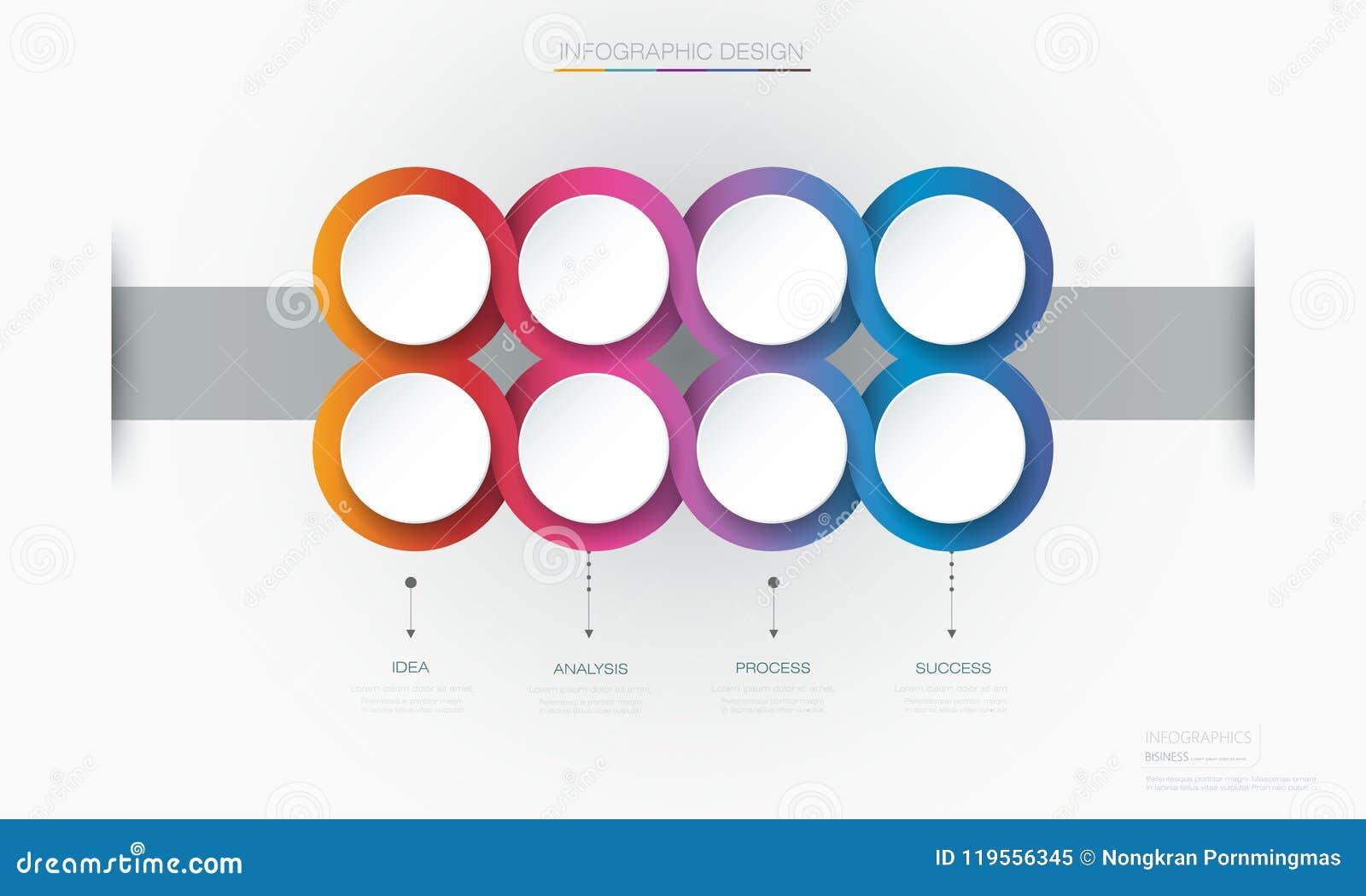 Conception de calibre de label de cercle d Infographic 3d de vecteur Infograph avec 8 options ou étapes de nombre