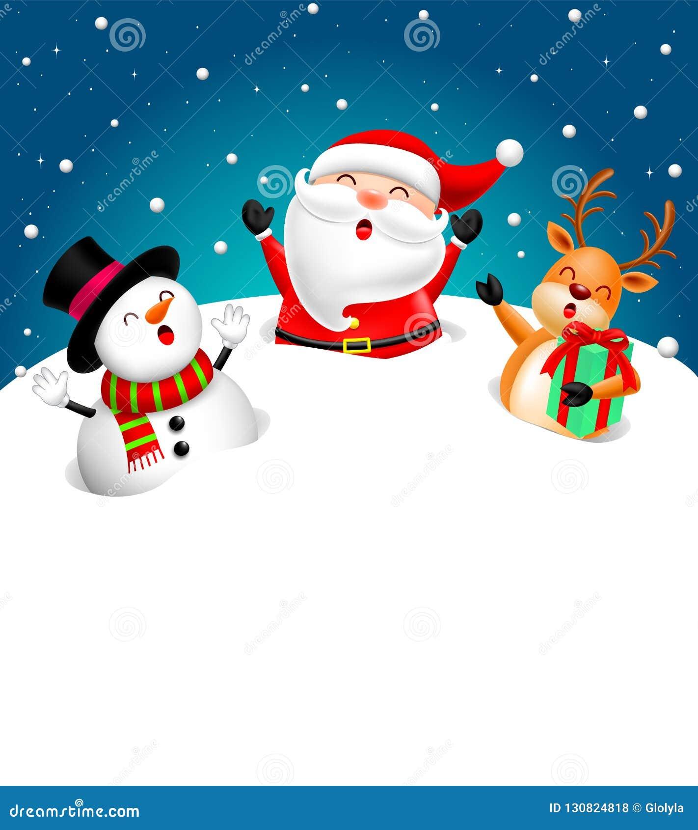 Conception De Caracteres Drole De Noel Sur La Neige La Santa Claus Le Bonhomme De Neige Et Le Renne Illustration De Vecteur Illustration Du Renne Santa 130824818