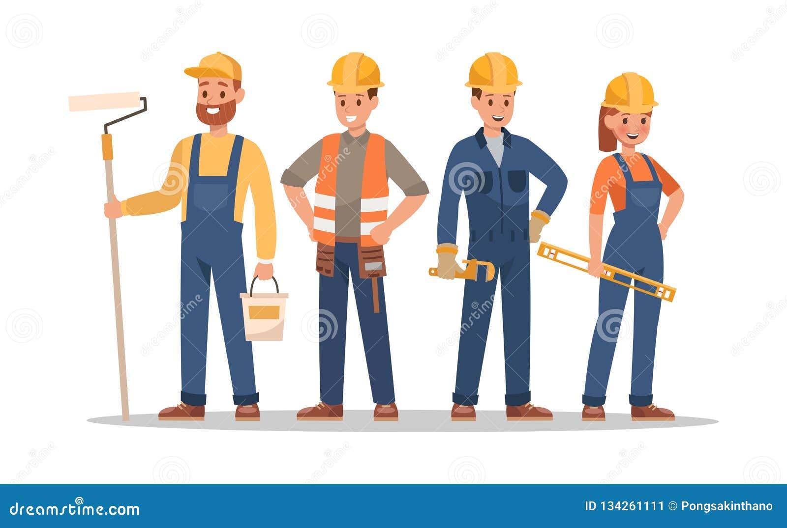Conception de caractères de personnel de construction Incluez l agent de maîtrise, peintre, électricien, paysagiste, charpentier