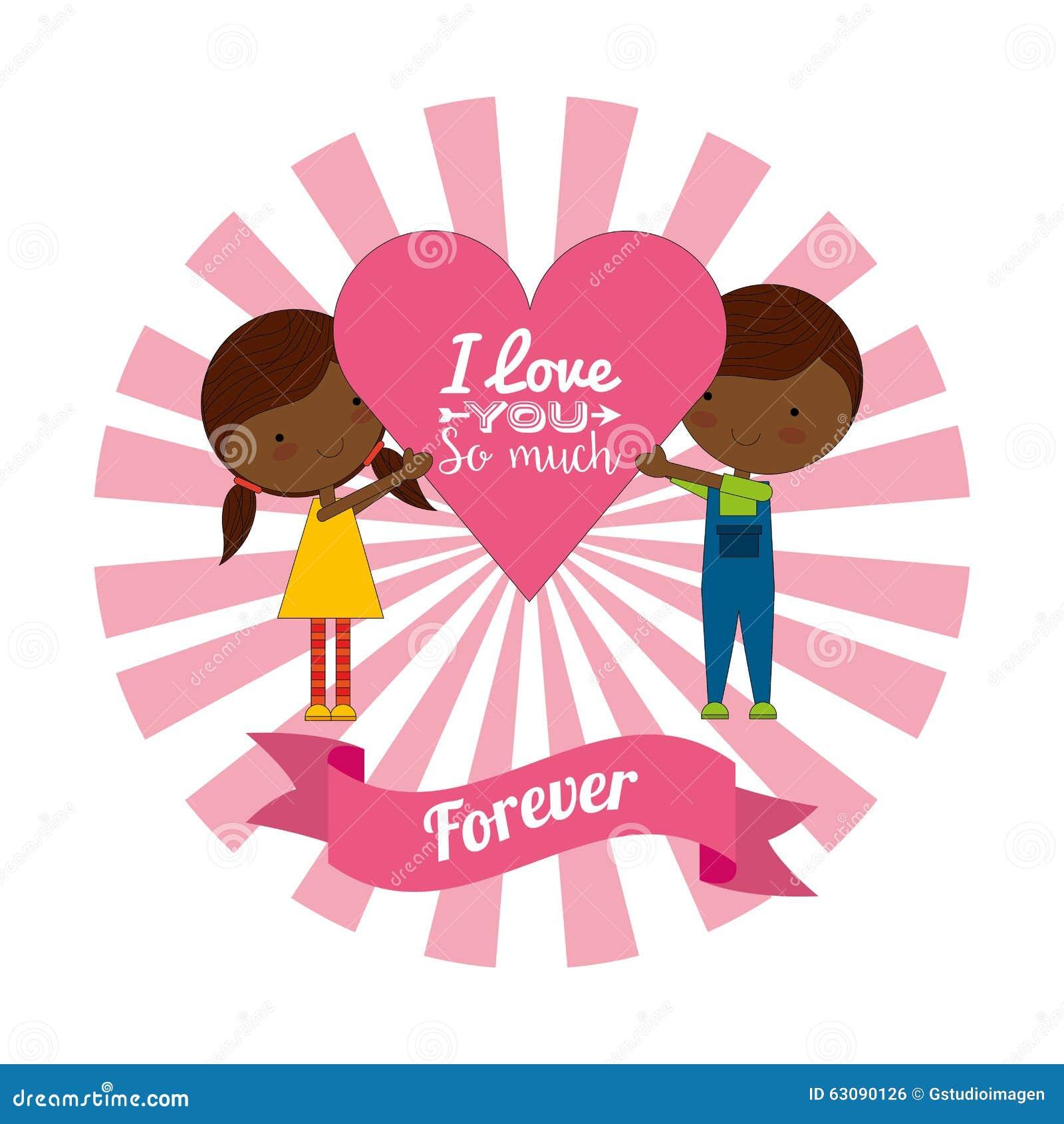 Download Conception De Carte D'amour Illustration de Vecteur - Illustration du fille, valentine: 63090126