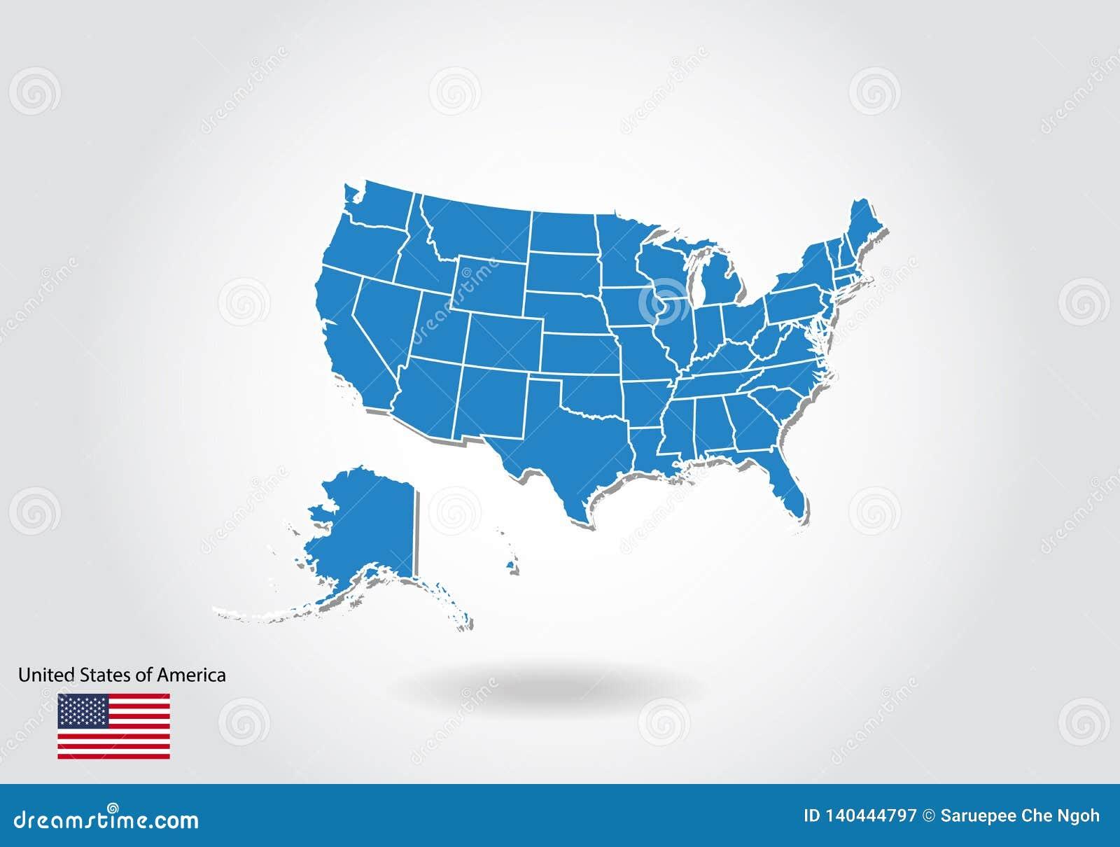 Conception de carte des Etats-Unis avec le style 3D Les Etats-Unis bleus tracent et drapeau national Carte simple de vecteur avec