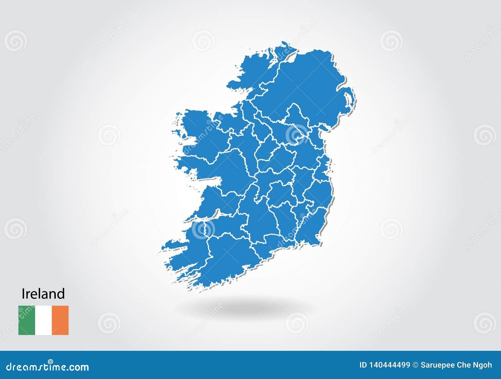 Carte Irlande Simple.Conception De Carte De L Irlande Avec Le Style 3d Carte