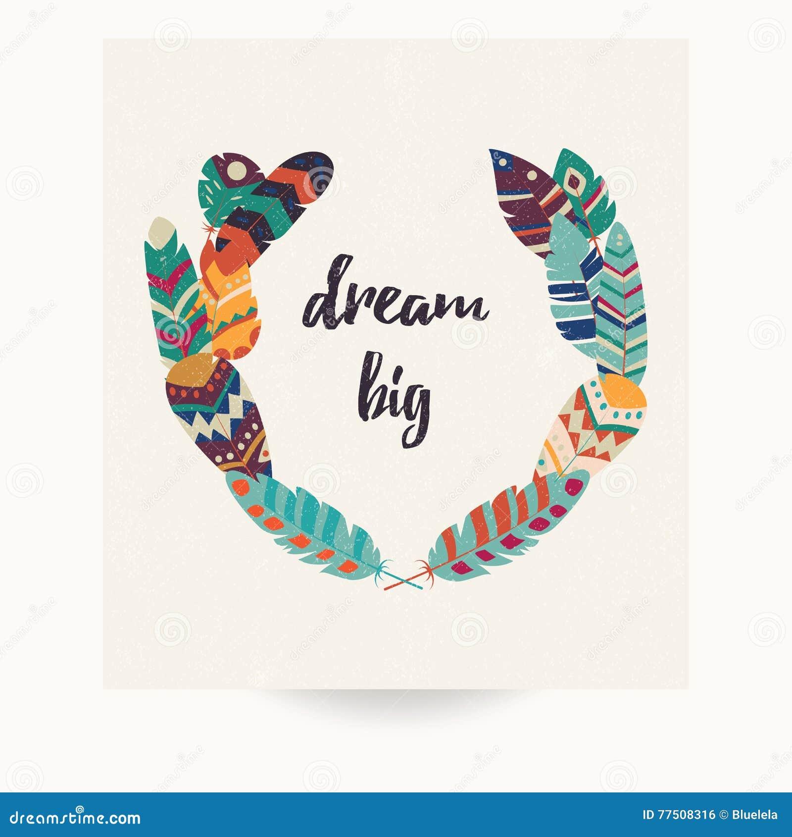 Conception de carte postale avec la citation inspirée et les plumes colorées de Bohème