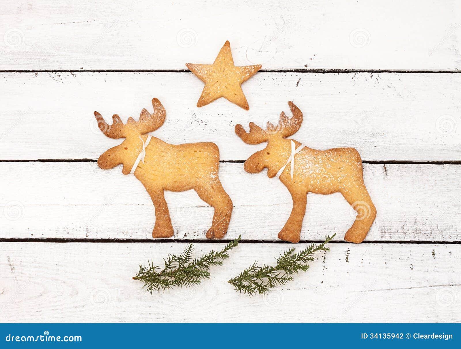 Conception de carte postale ou d affiche de Noël avec des biscuits de renne