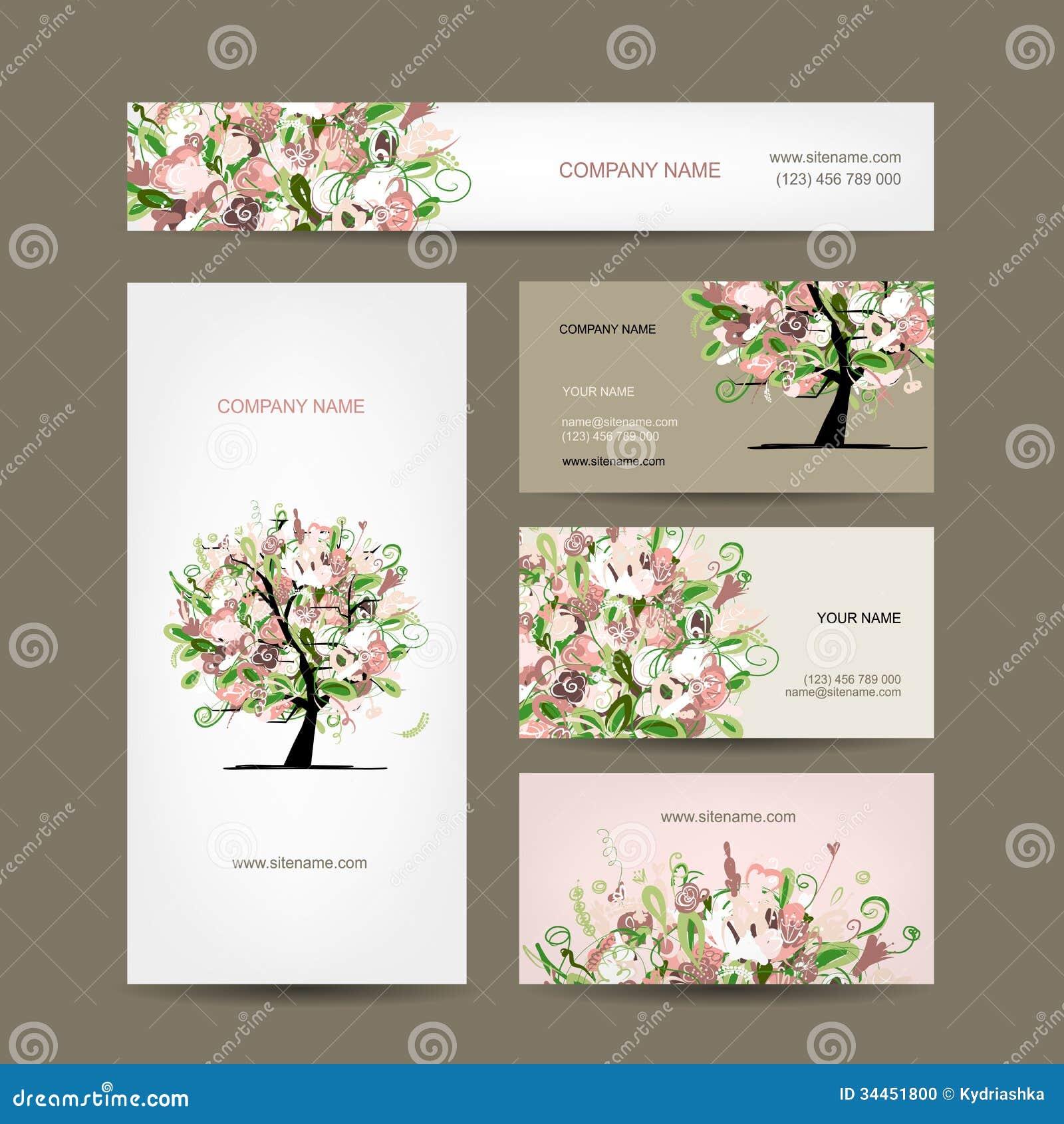 conception de cartes de visite professionnelle de visite avec le croquis floral d 39 arbre. Black Bedroom Furniture Sets. Home Design Ideas
