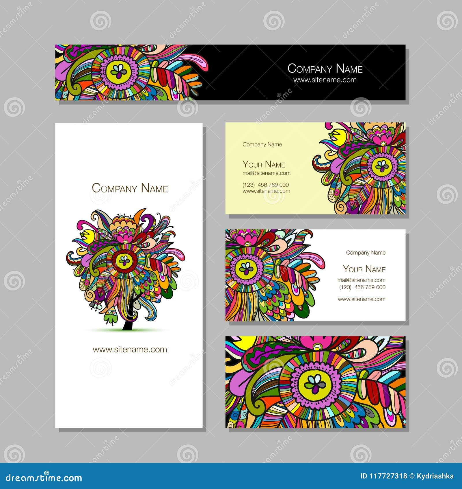 Conception De Cartes Visite Professionnelle Fond Floral