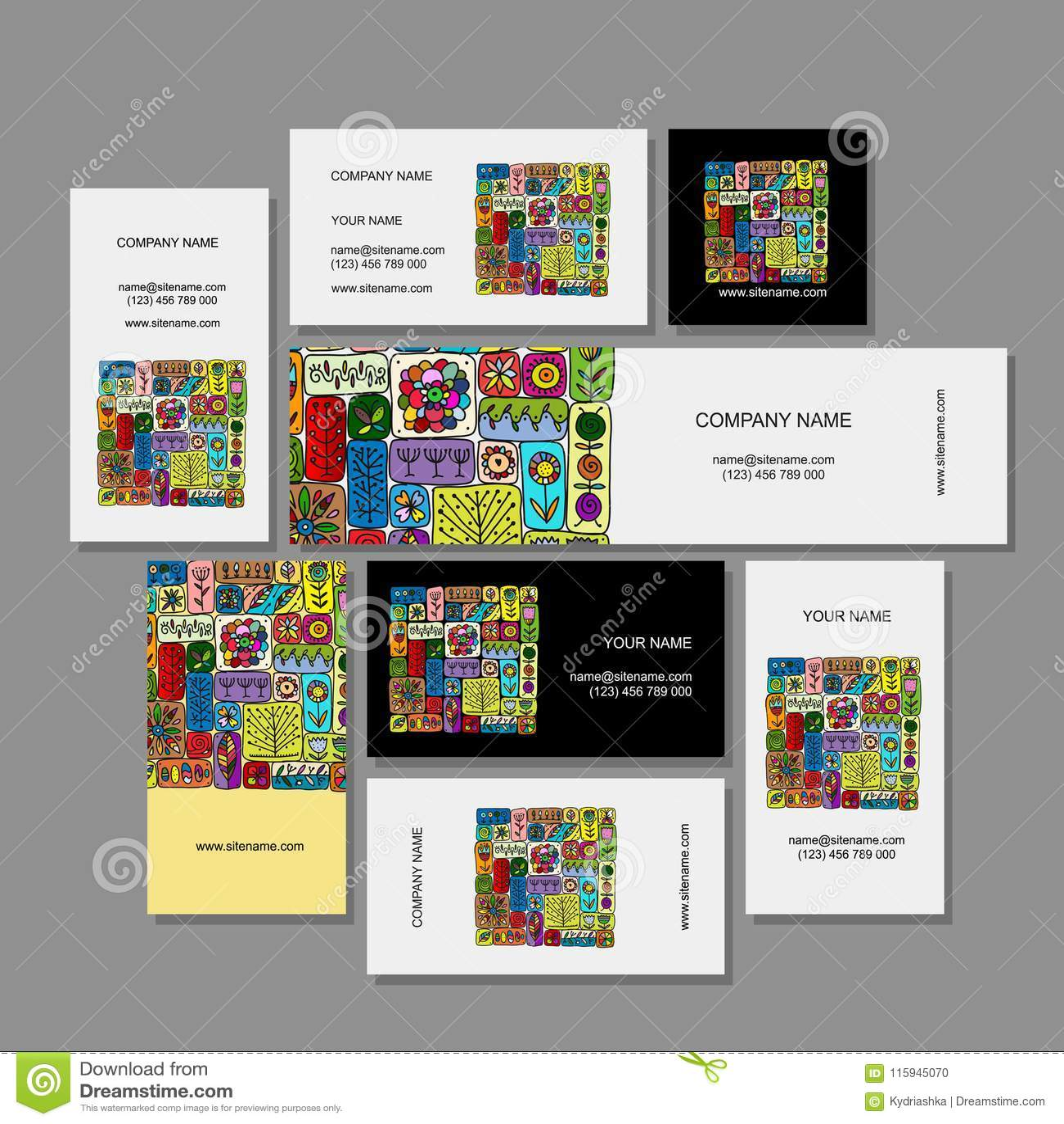 Download Conception De Cartes Visite Professionnelle Ornement Floral Ethnique Illustration Vecteur