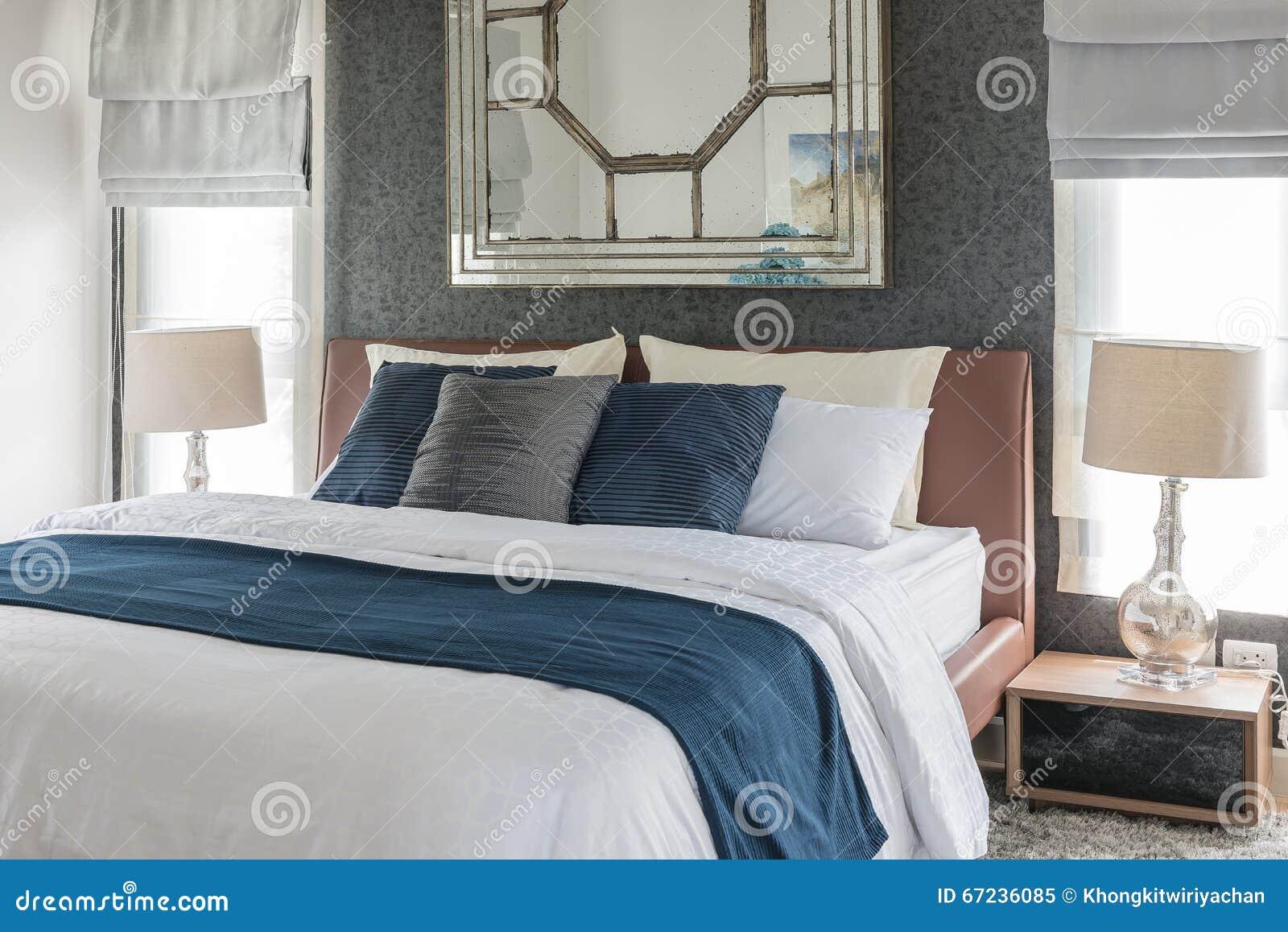 Conception De Chambre A Coucher Avec Le Ton Bleu Et Blanc De Couleur Image Stock Image Du Avec Couleur 67236085