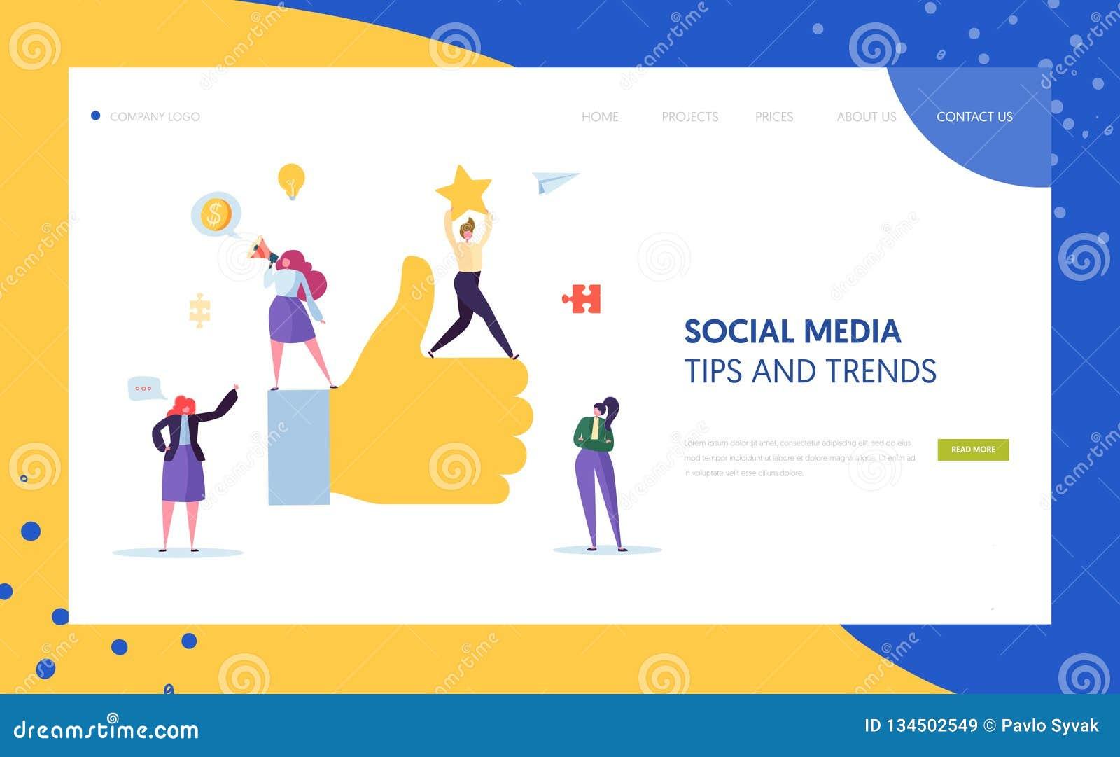 Conception de commercialisation sociale de page d atterrissage de caractère de Digital Travail d équipe d agence de publicité pou