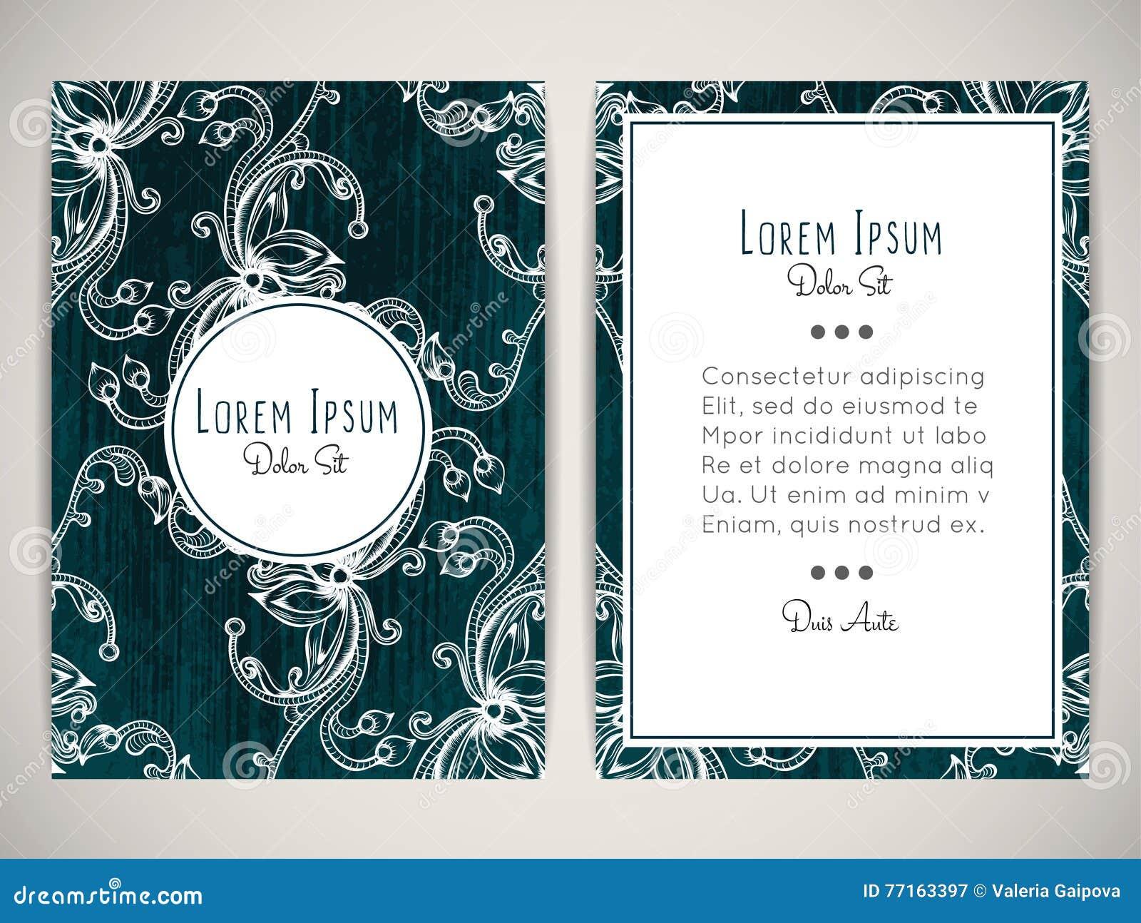 Conception de couverture avec l ornement floral haché Rétro type