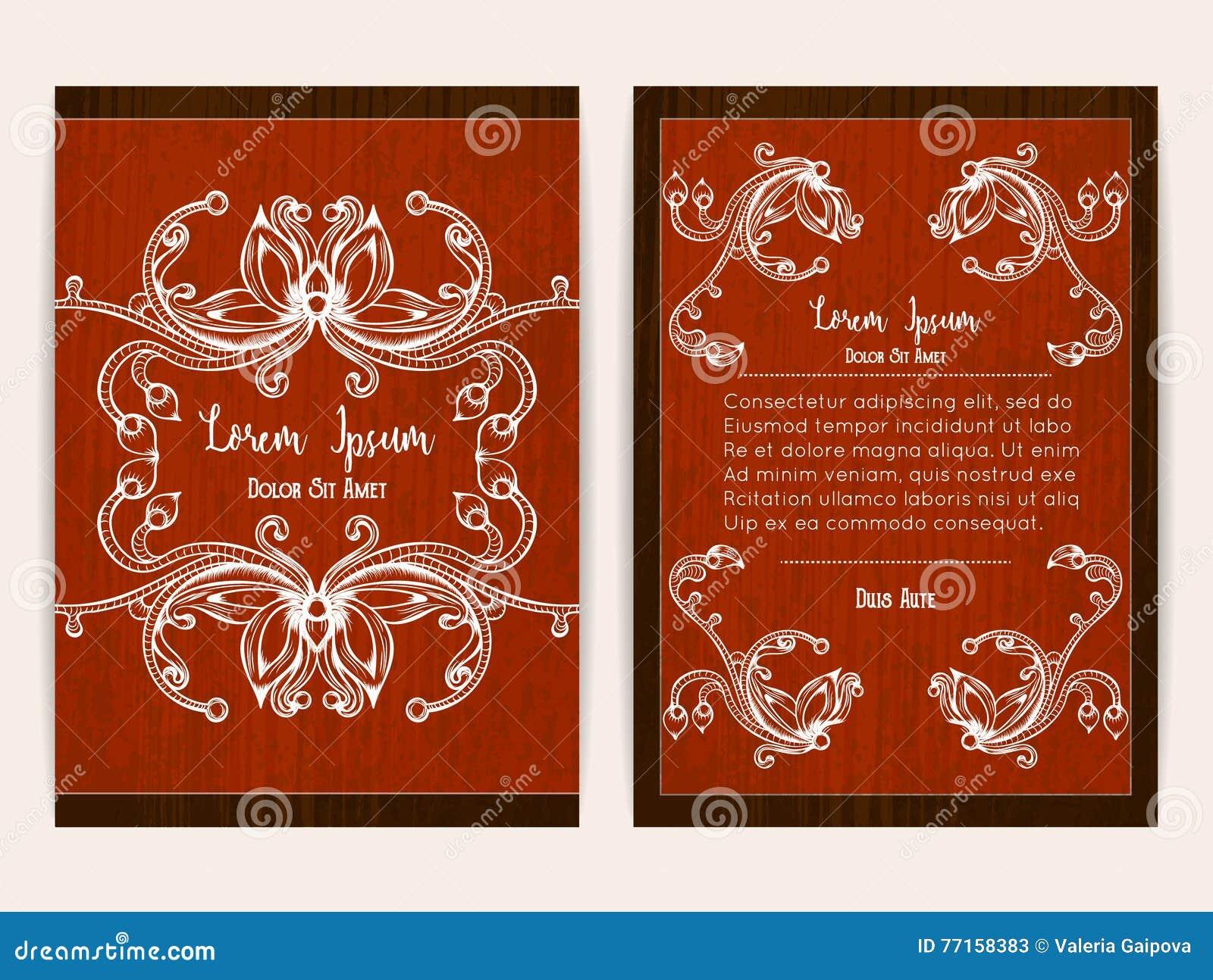 Conception de couverture avec le cadre ornemental floral Rétro type