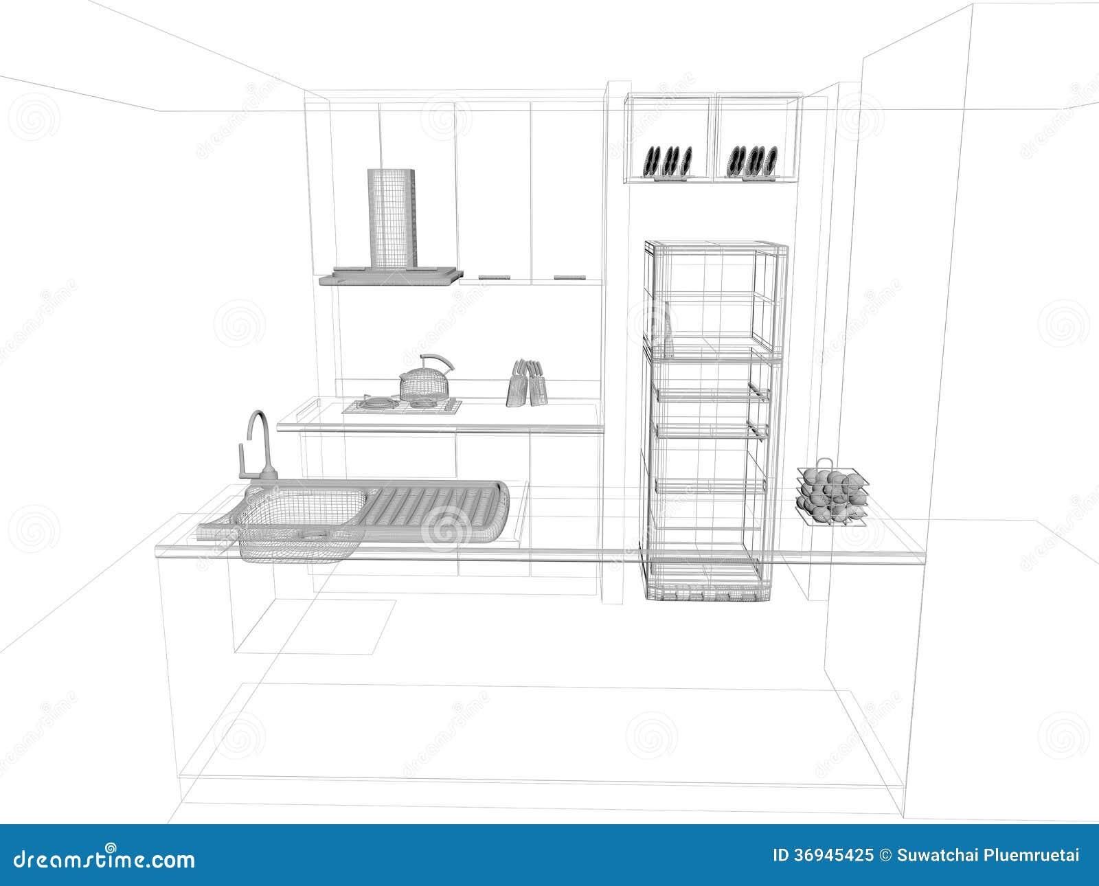 Conception de croquis de cuisine illustration stock for Conception de cuisine