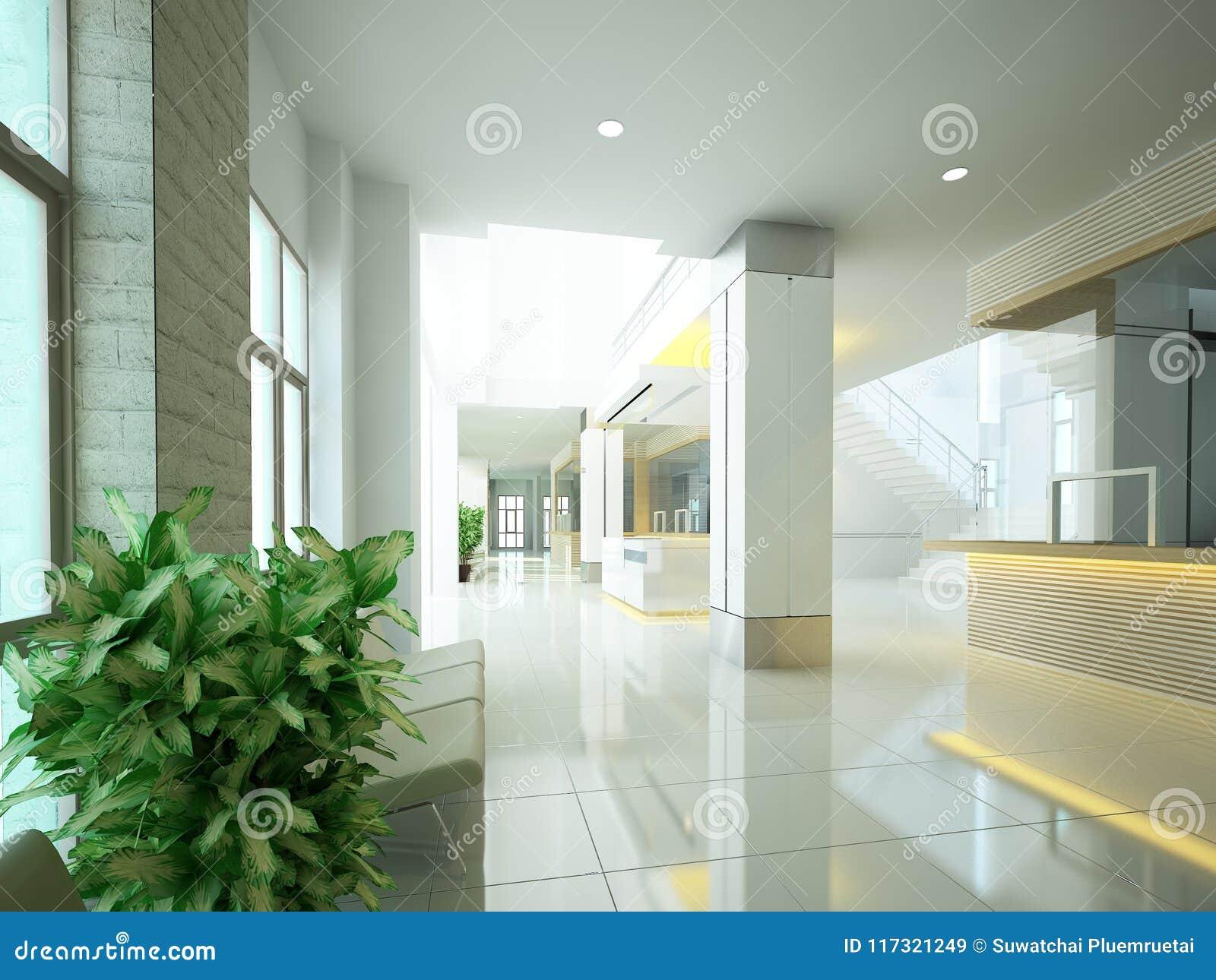 Conception de croquis du hall intérieur, 3d