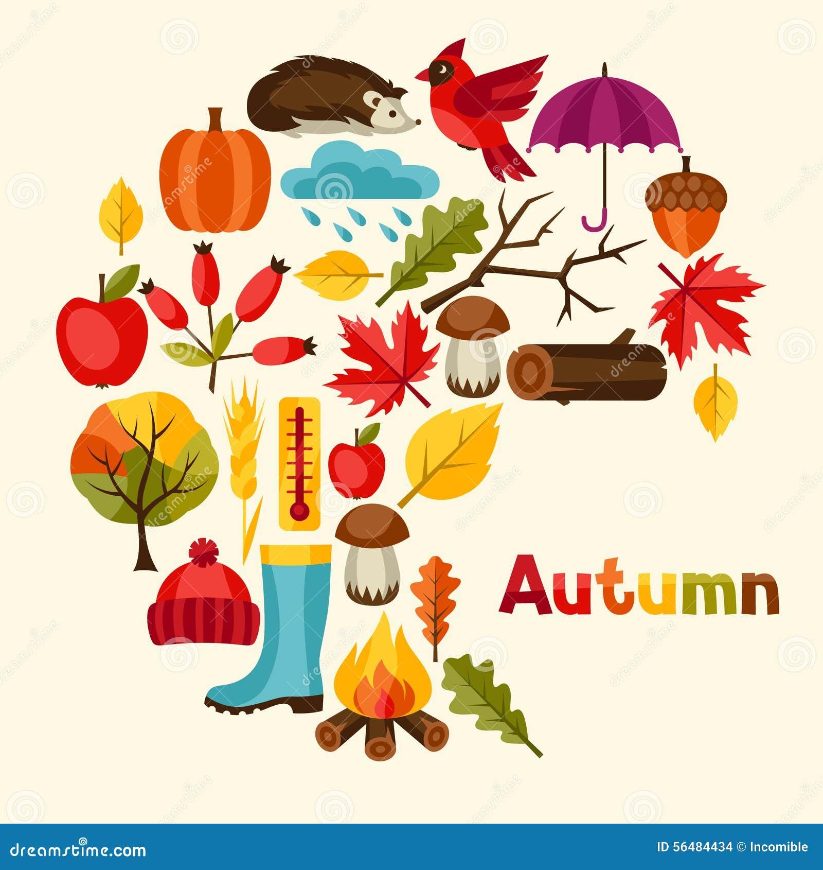 Conception de fond avec des icônes et des objets d automne