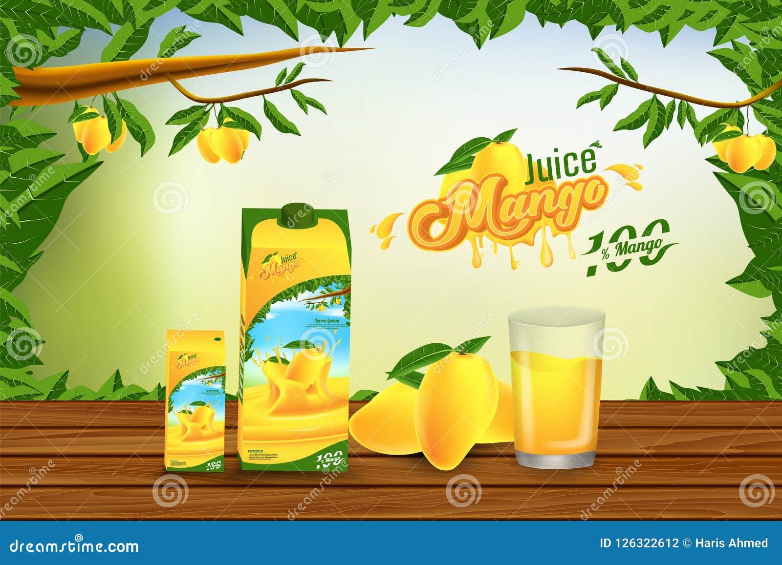 Conception de fond de Juice Advertising Banner Ads Vector de mangue