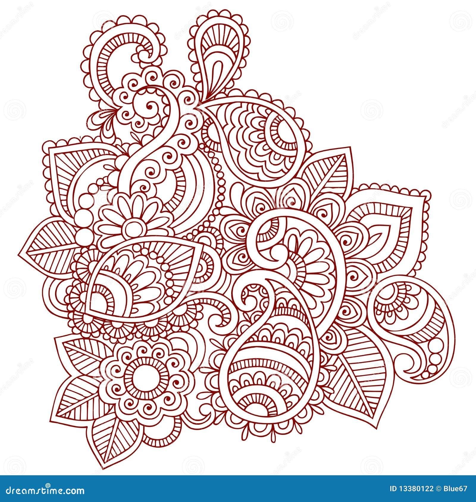 Conception De Griffonnage De Mehndi Paisley De Henn