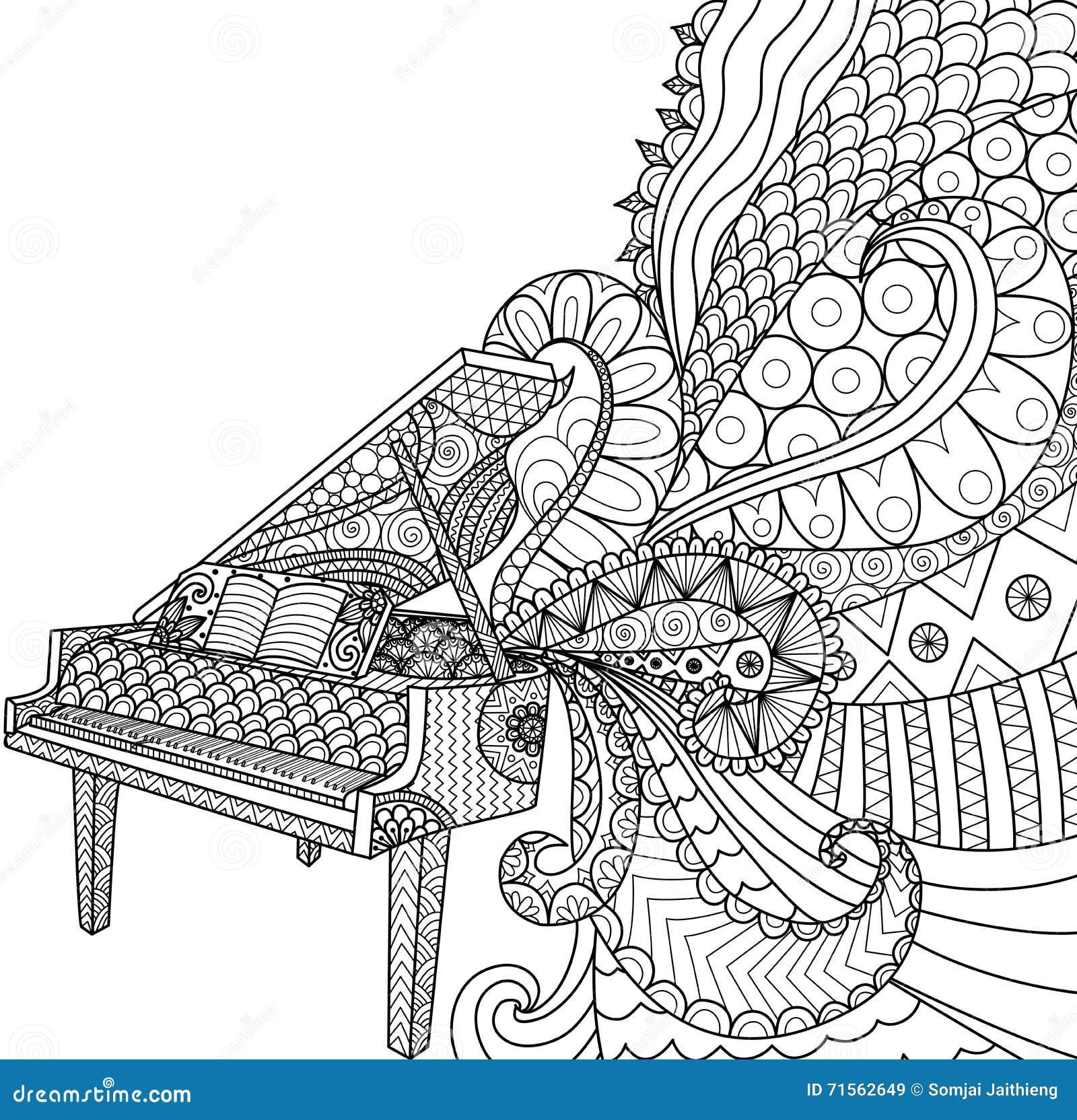 Conception de griffonnages de piano pour livre de - Coloriage piano ...