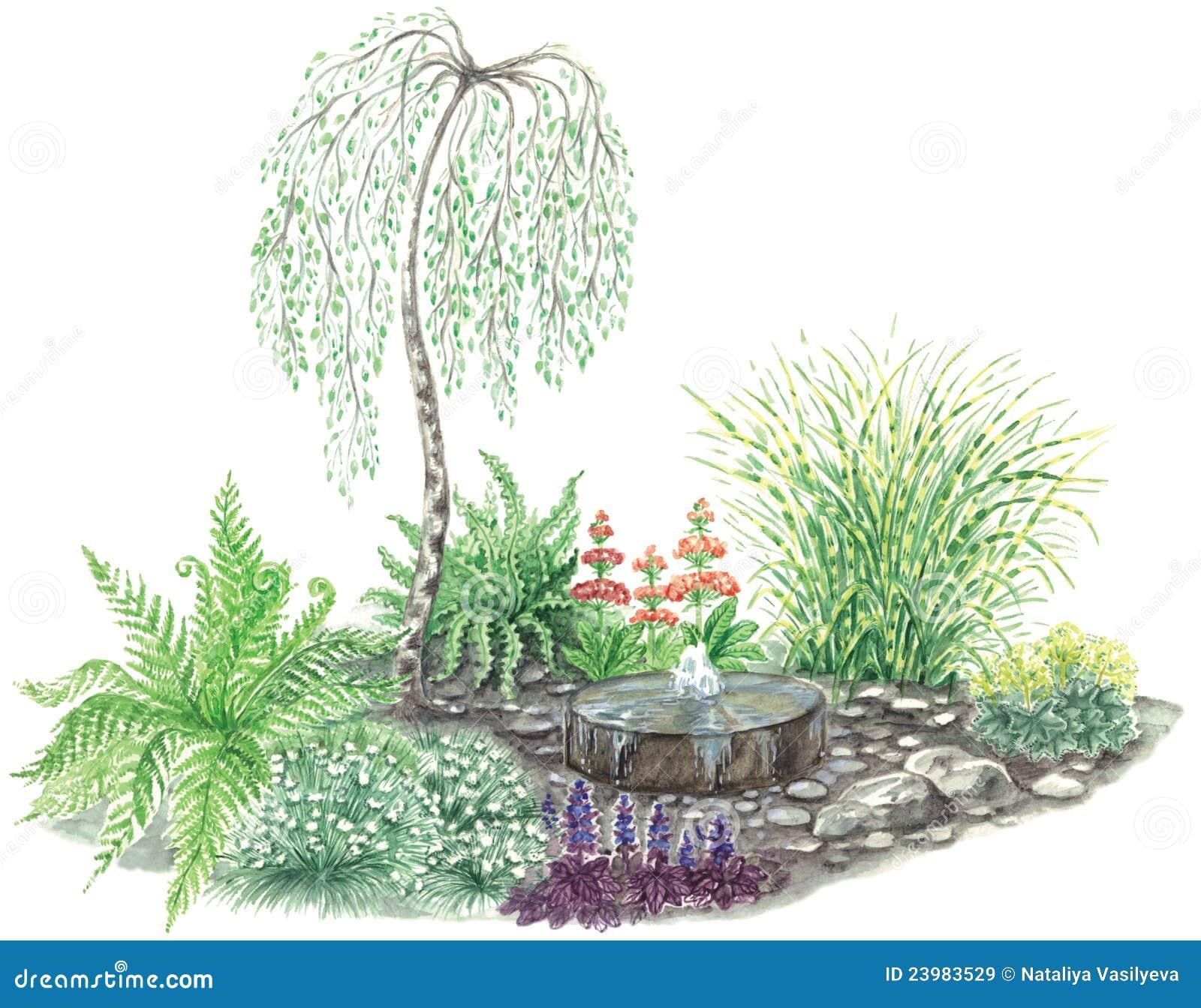 Conception de jardin avec peu de fontaine images libres de for Conception de jardin 3d