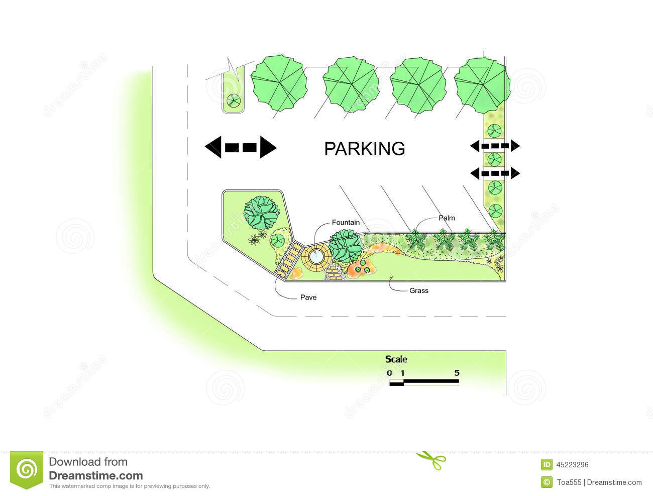 Conception de jardin de parking illustration stock image for Conception de jardin