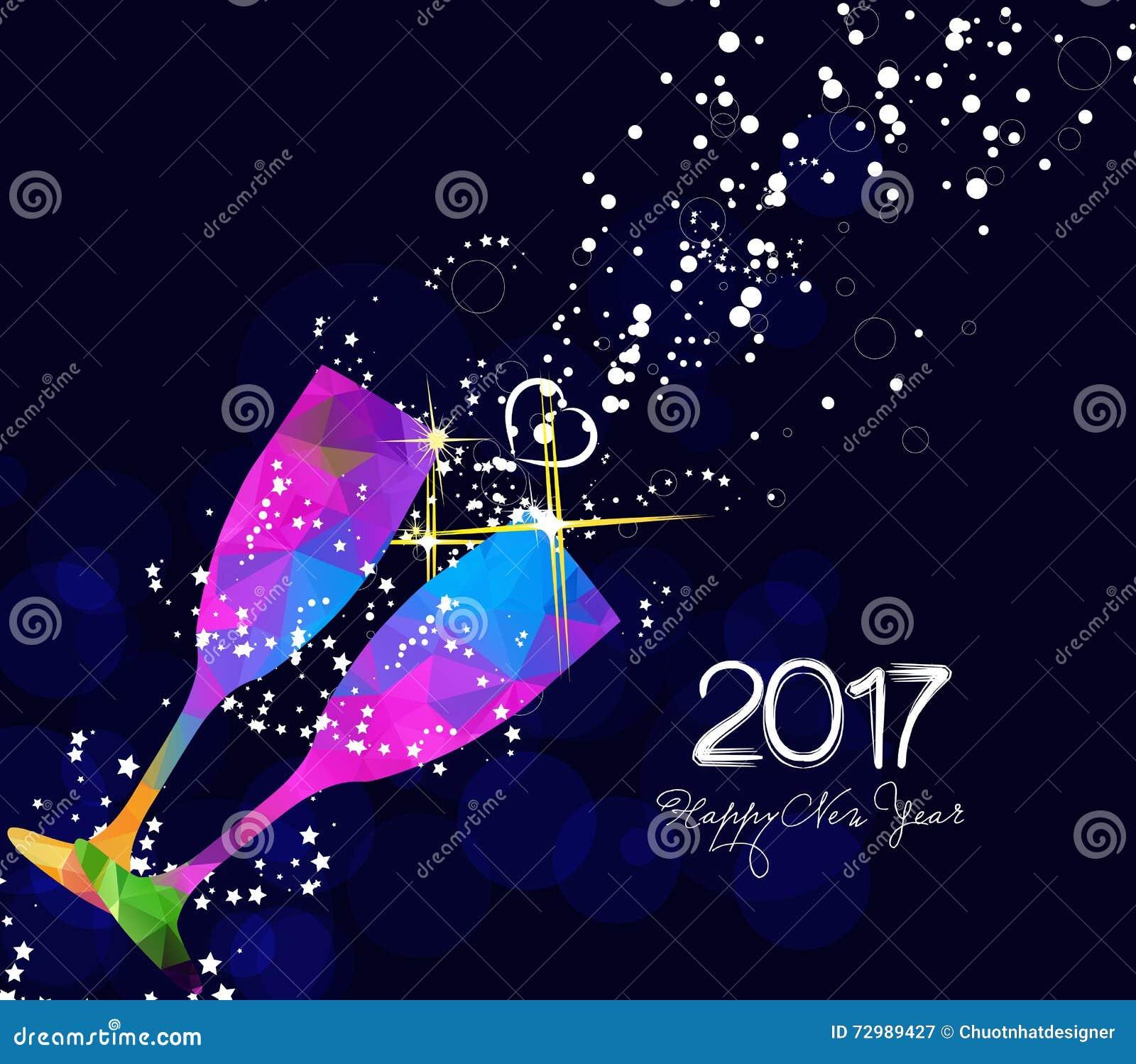 Conception de la carte de voeux 2017 ou de l 39 affiche de bonne ann e avec le verre color de - Cartes de voeux virtuelles 2017 ...
