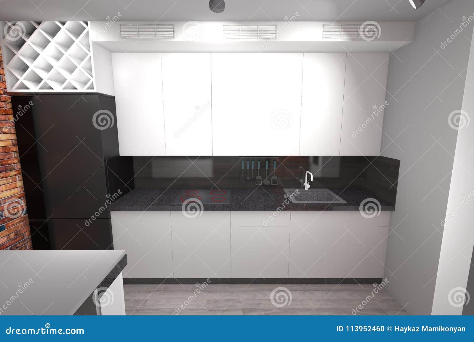 Conception De La Cuisine 3d Moderne Illustration Stock