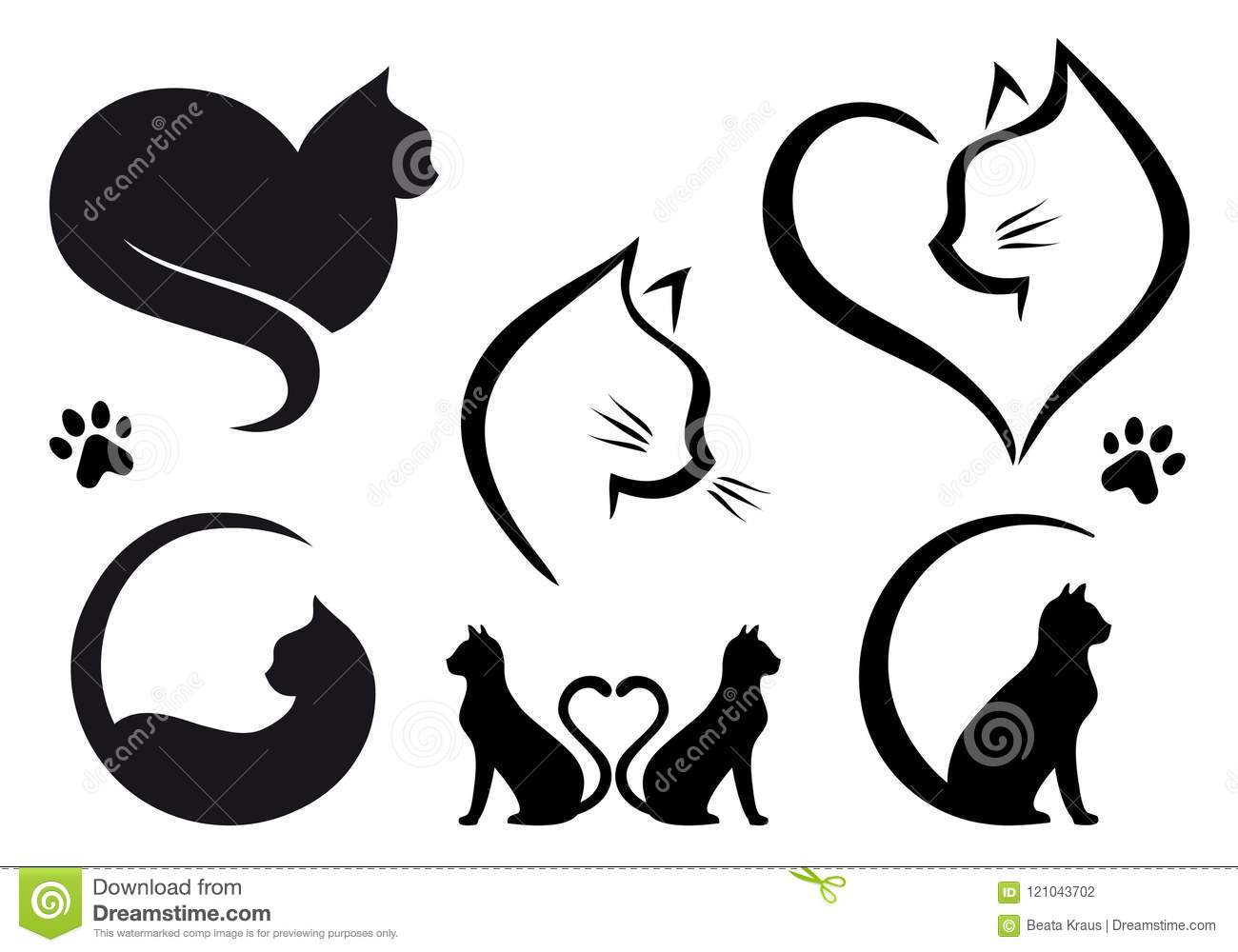 Conception de logo de chat, ensemble de vecteur