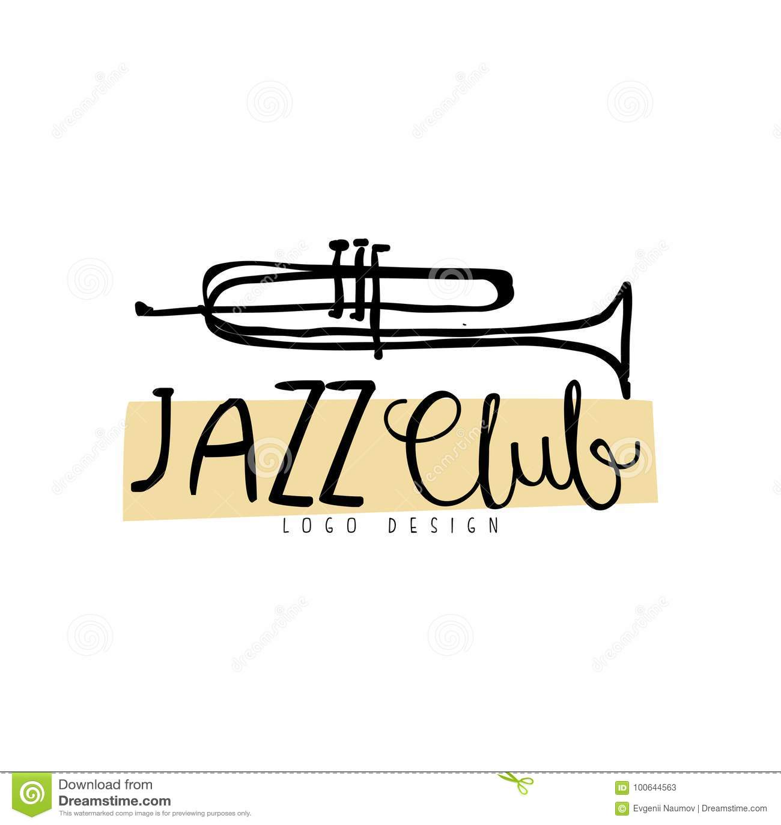 Conception de logo de club de jazz, label de musique de vintage avec la trompette, élément pour l insecte, carte, tract ou banniè
