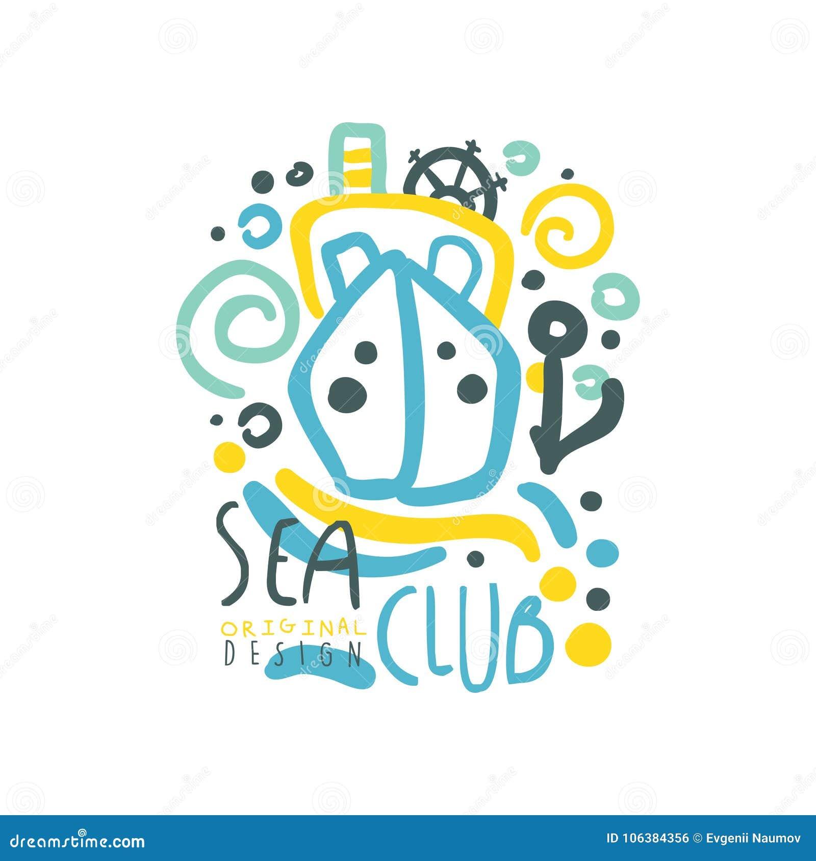 Conception de logo de club de mer avec le bateau ou le yacht flottant sur les vagues abstraites Illustration colorée tirée par la
