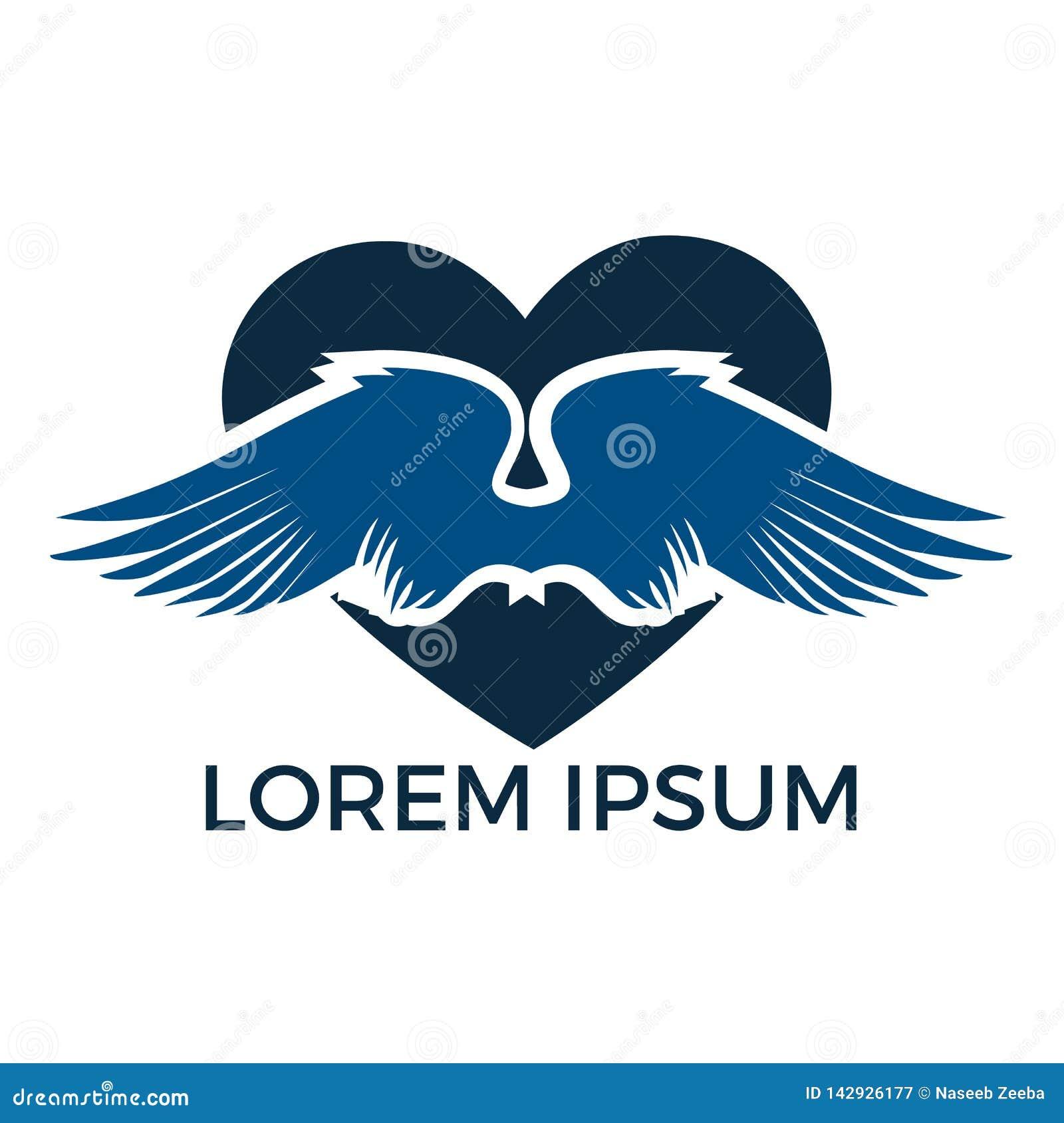 Conception de logo d ailes d amour L avion aile l ic?ne de logo