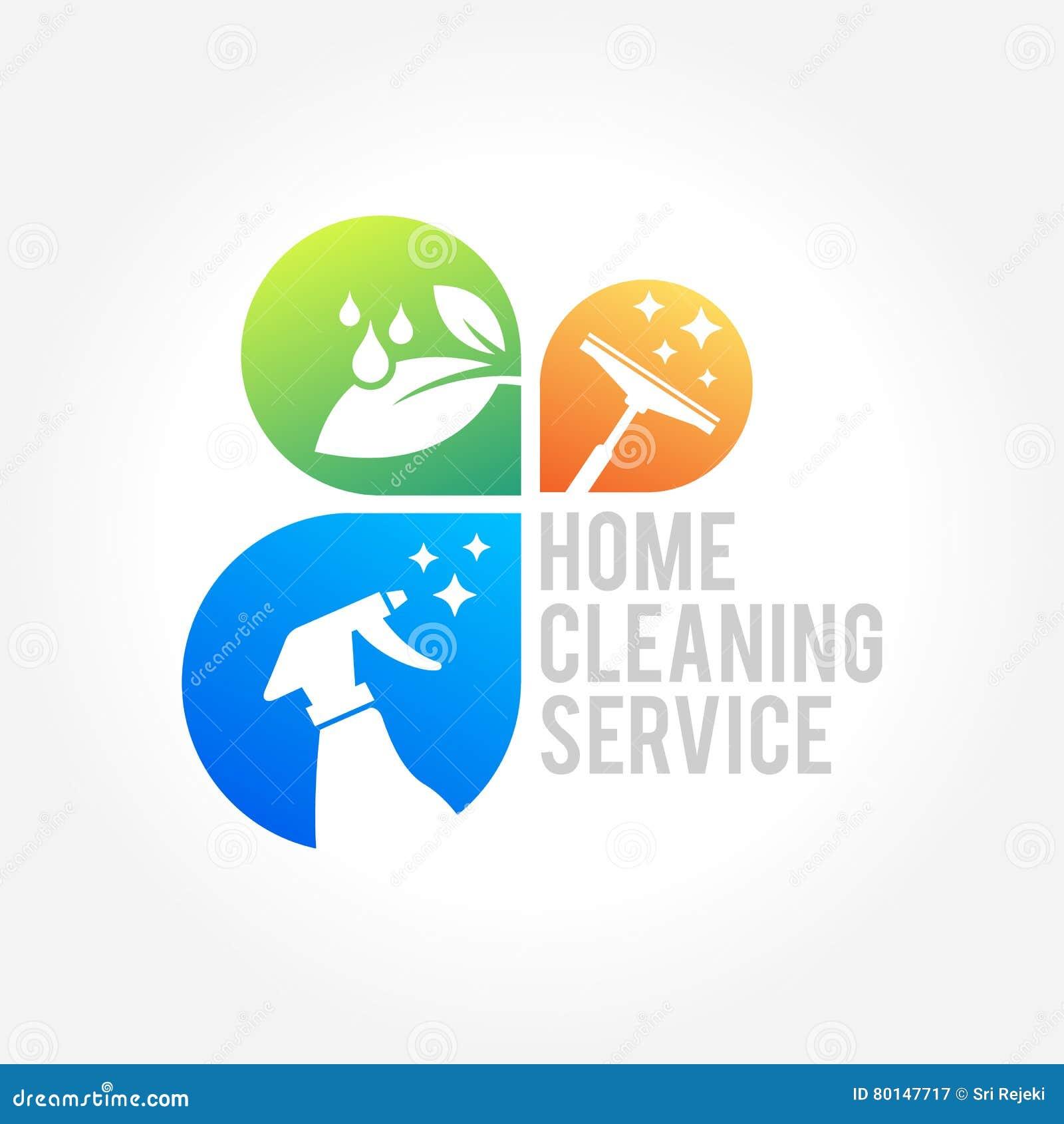 Conception de logo d entreprise de services de nettoyage concept écologique pour l intérieur