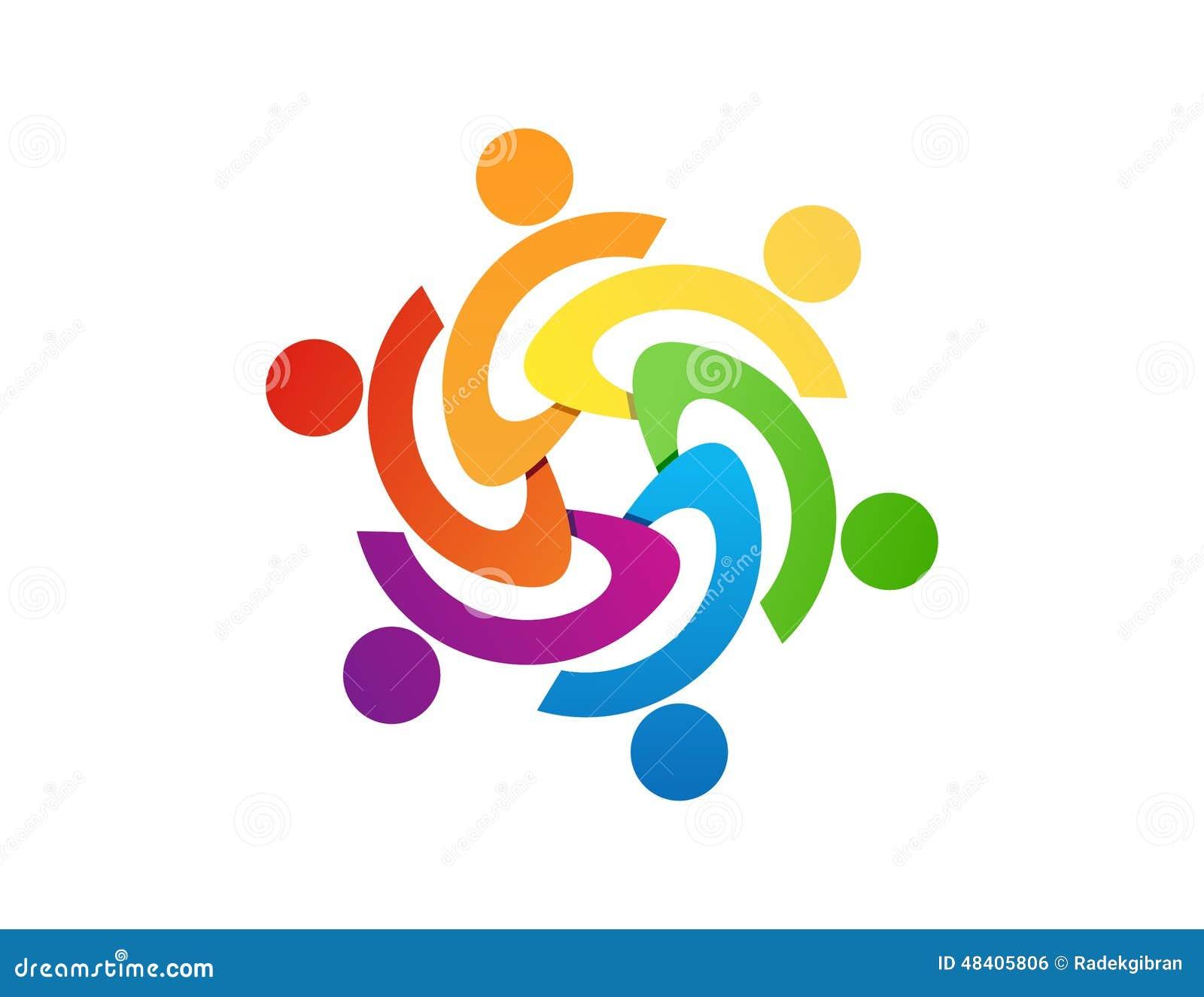 Conception de logo de travail d équipe, abrégé sur personnes, affaires modernes, connexion