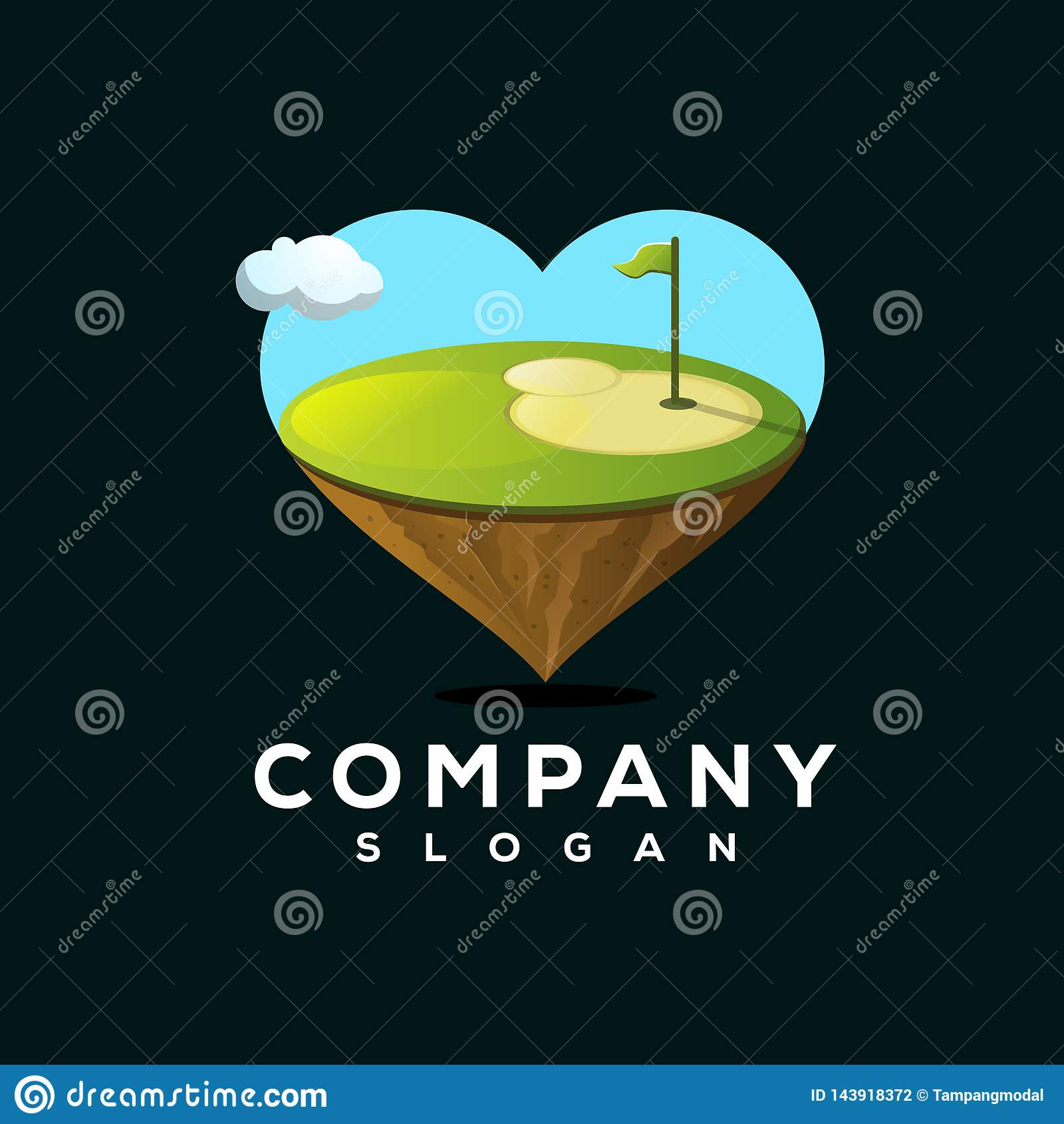 Conception de logo de golf d amour prête à employer