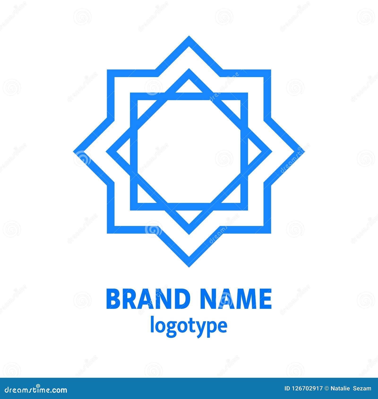 Conception de logo de Hexagram Logotype d étoile de David Icône juive géométrique d étoile, élément avec le texte simple Concept