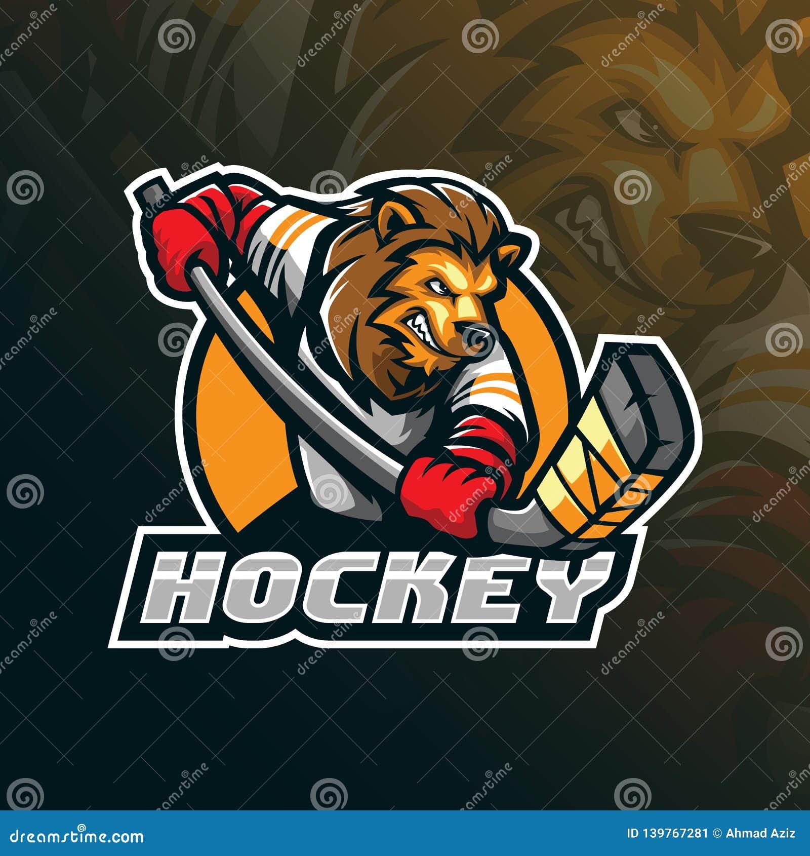 Conception de logo de mascotte de vecteur d hockey avec le style moderne de concept d illustration pour l impression d insigne, d