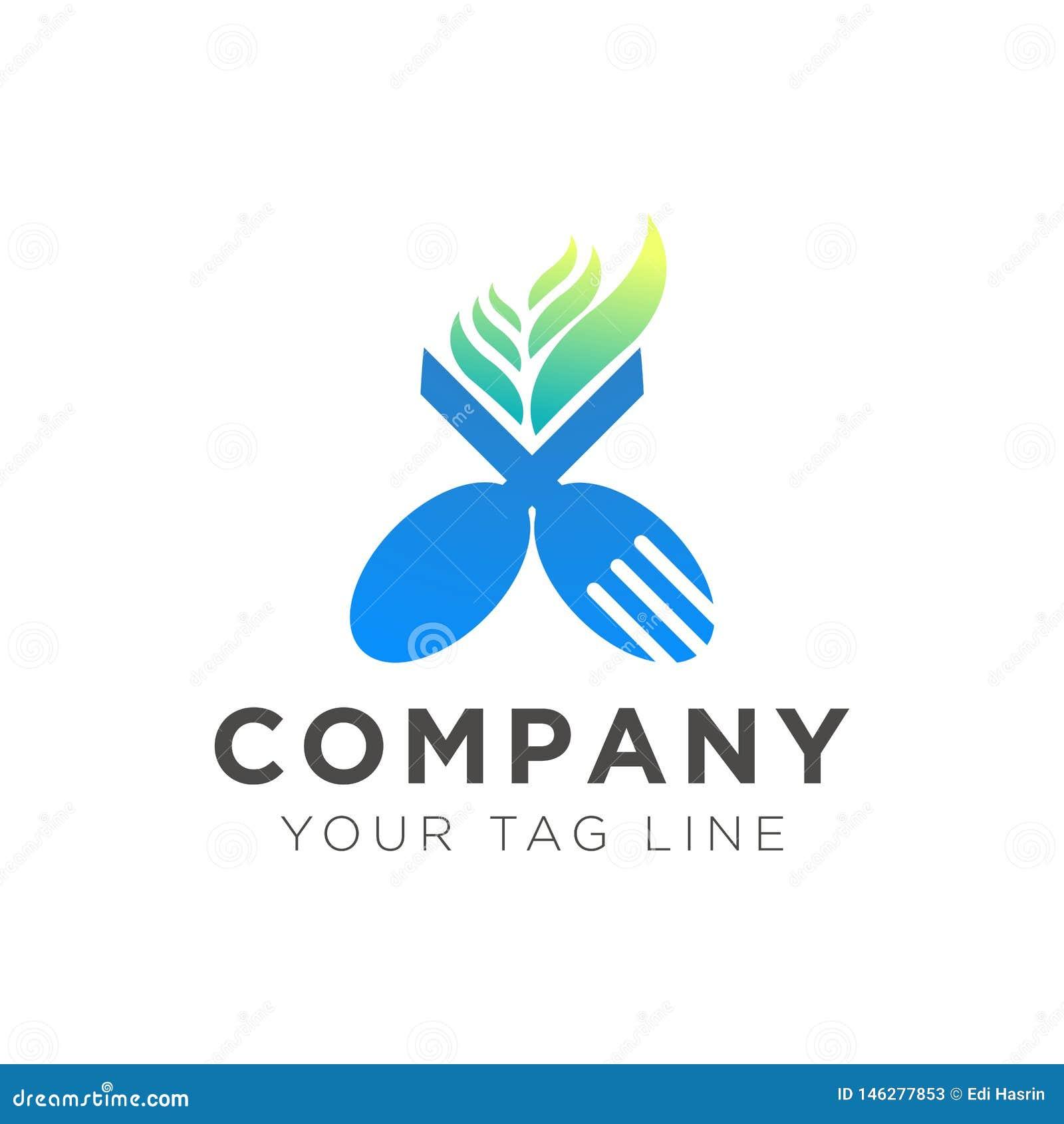 Conception de logo de restaurant de fourchette et de cuillère