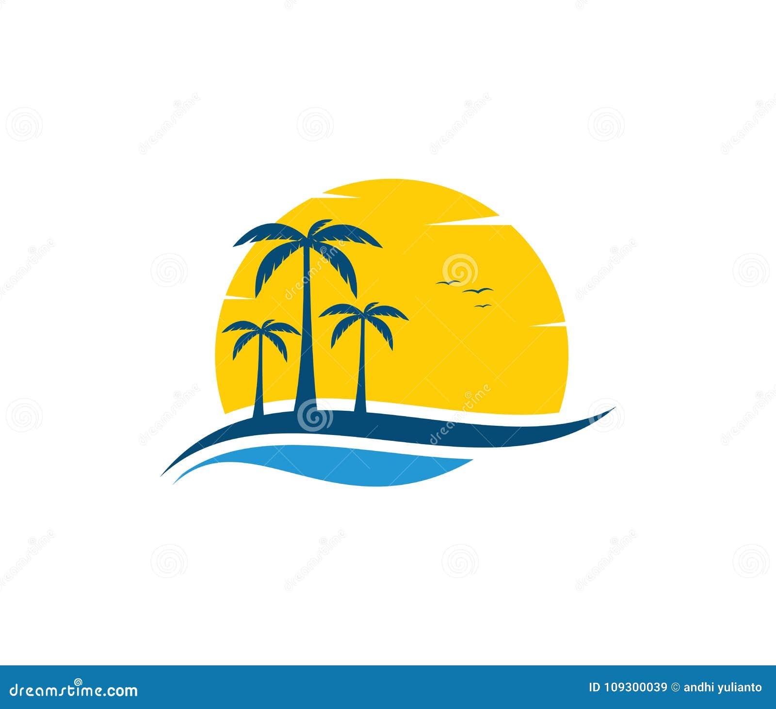 Conception de logo de vecteur du tourisme de navigation d été de plage d eau de mer d océan