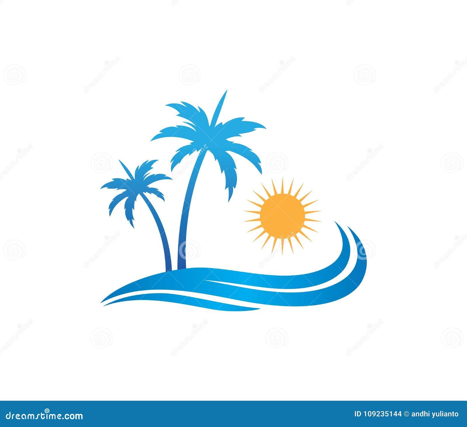 Conception de logo de vecteur de palmier de noix de coco de plage d été de vacances de tourisme d hôtel