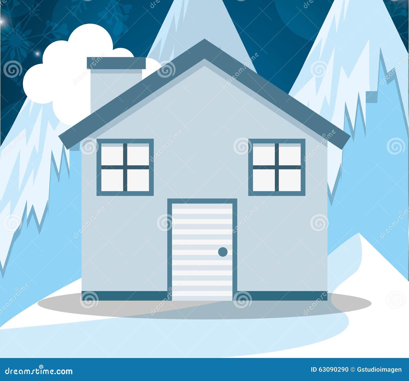 Download Conception De Maisons D'hiver Illustration de Vecteur - Illustration du horizontal, résidentiel: 63090290