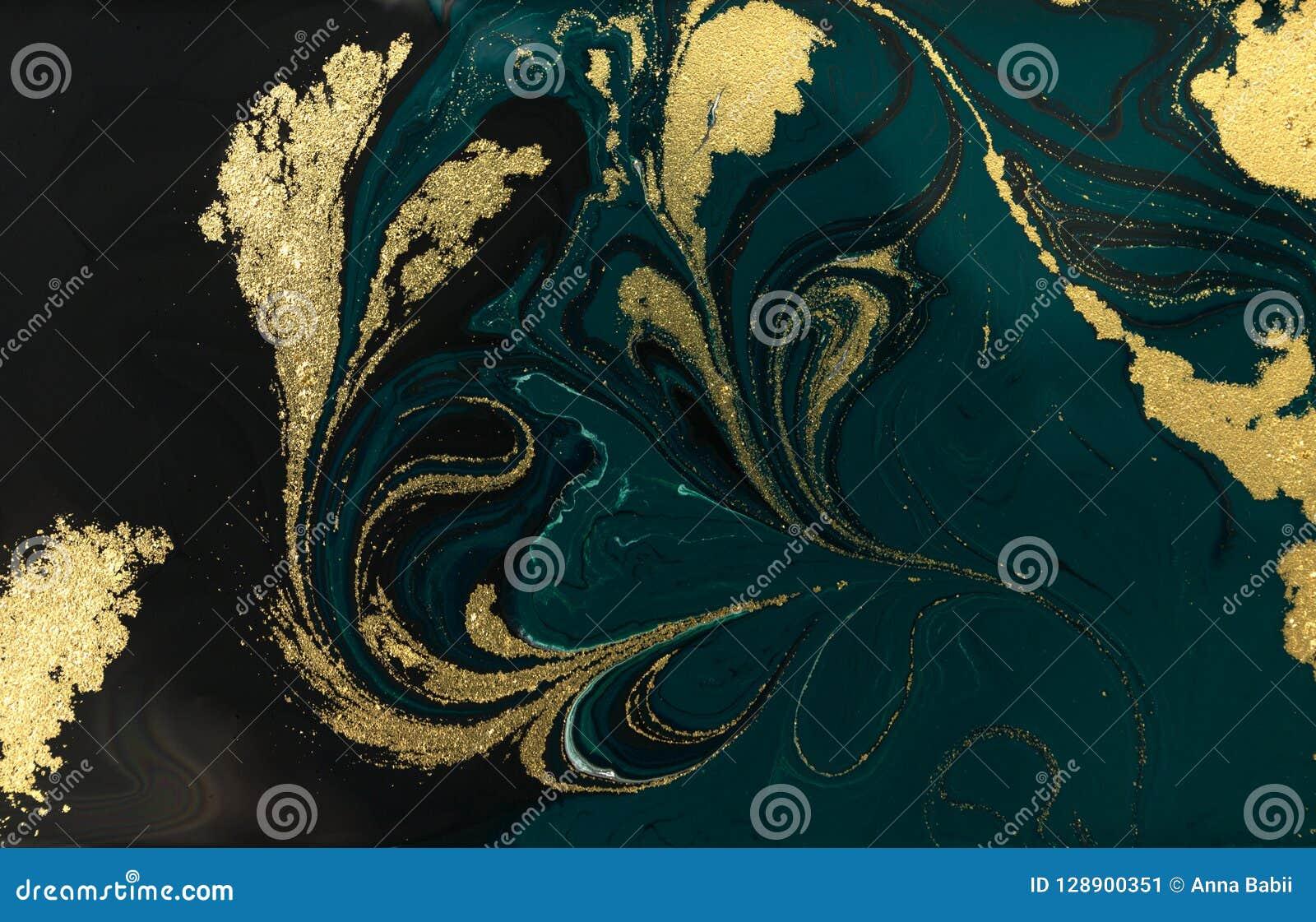 Conception de marbrure de texture d or Modèle de marbre bleu et d or Art liquide