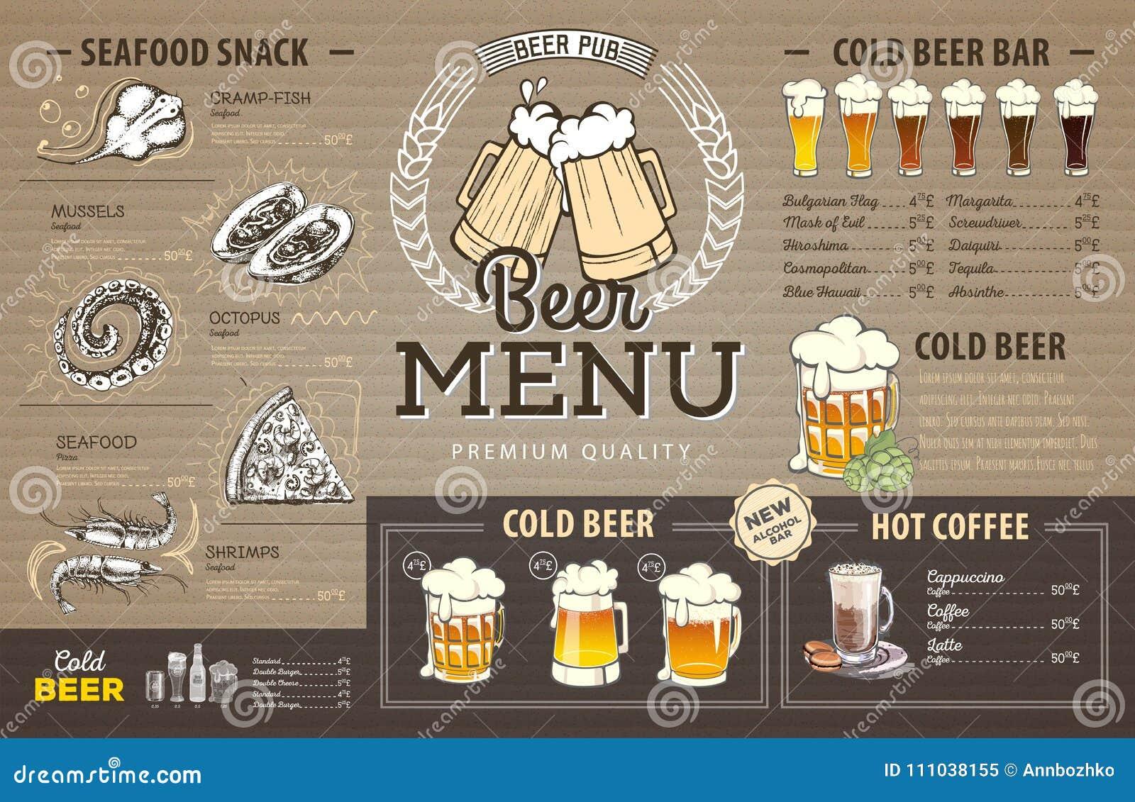 Conception de menu de bière de vintage sur le carton