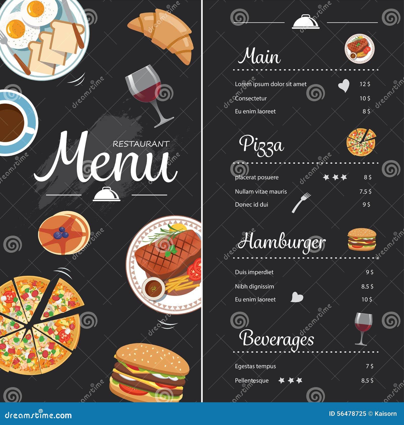 Conception de menu de nourriture de restaurant avec le tableau