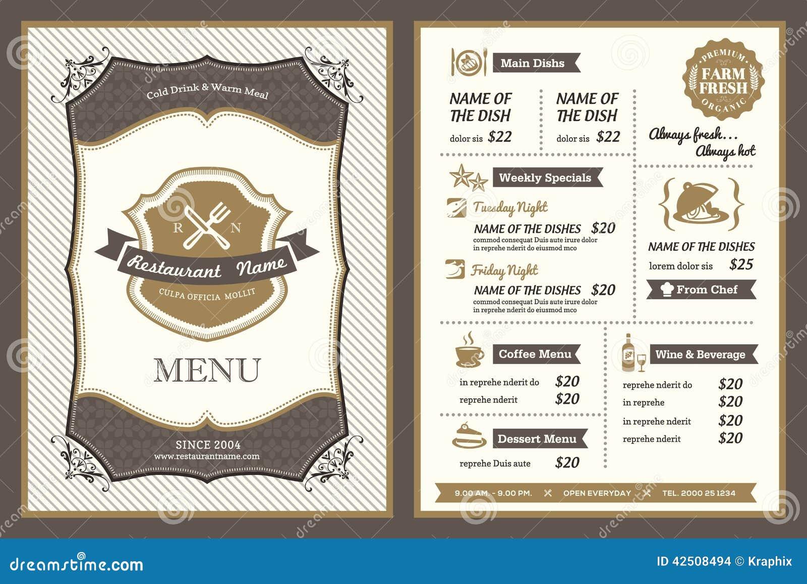Conception de menu de restaurant de vue de vintage