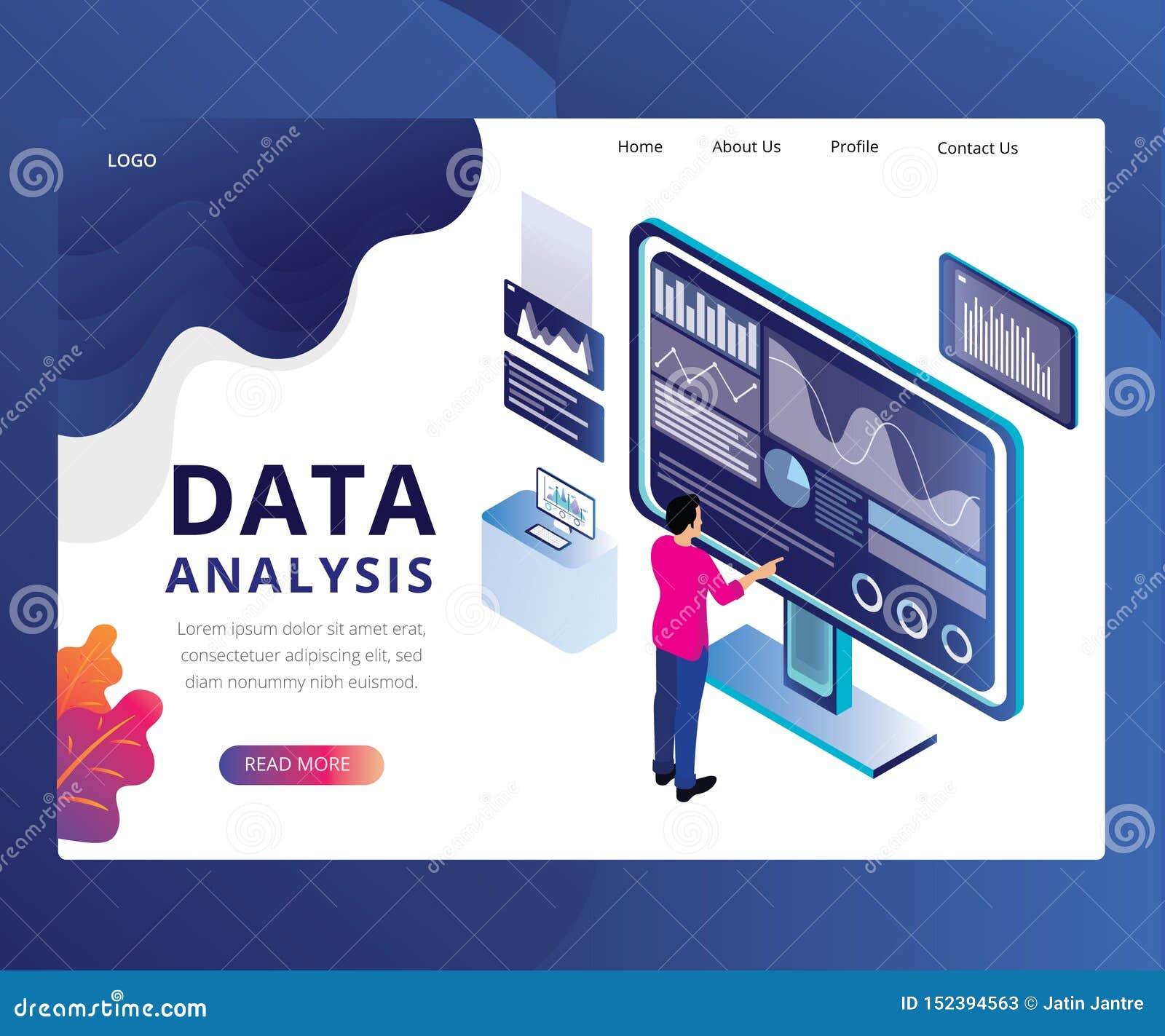 Conception de page d atterrissage d analyse de données