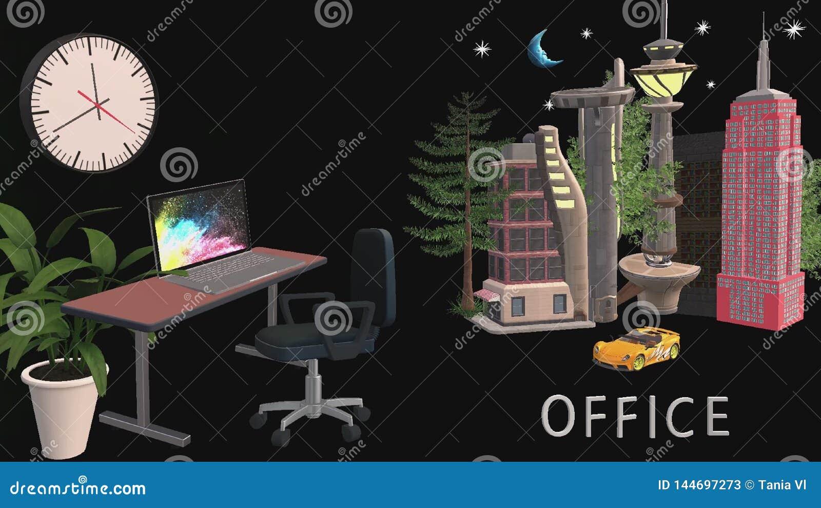 Conception de pièce de bureau et immeubles de bureaux dans le format 3D
