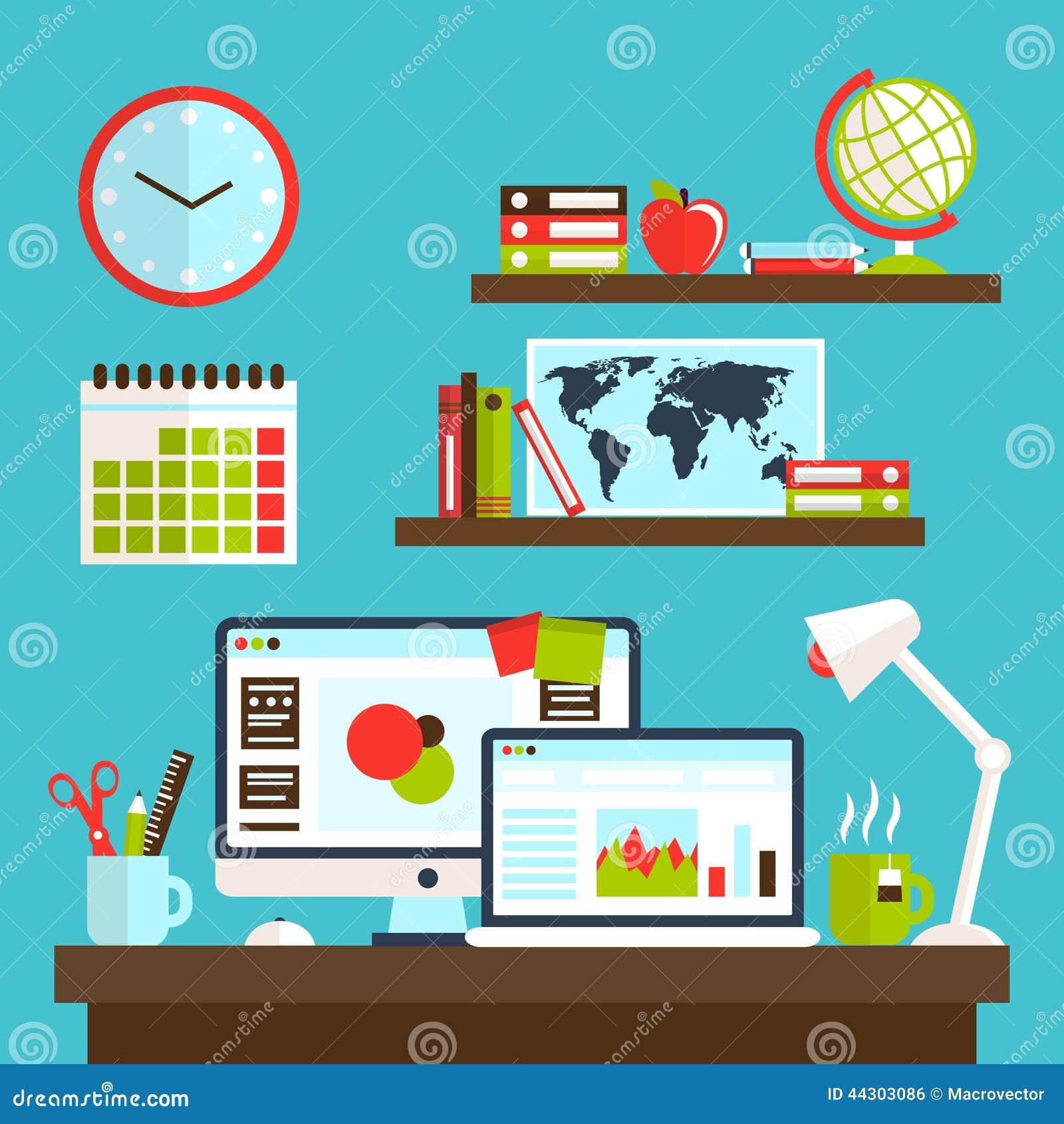 Conception de poste de travail de bureau illustration de for Bureau de conception